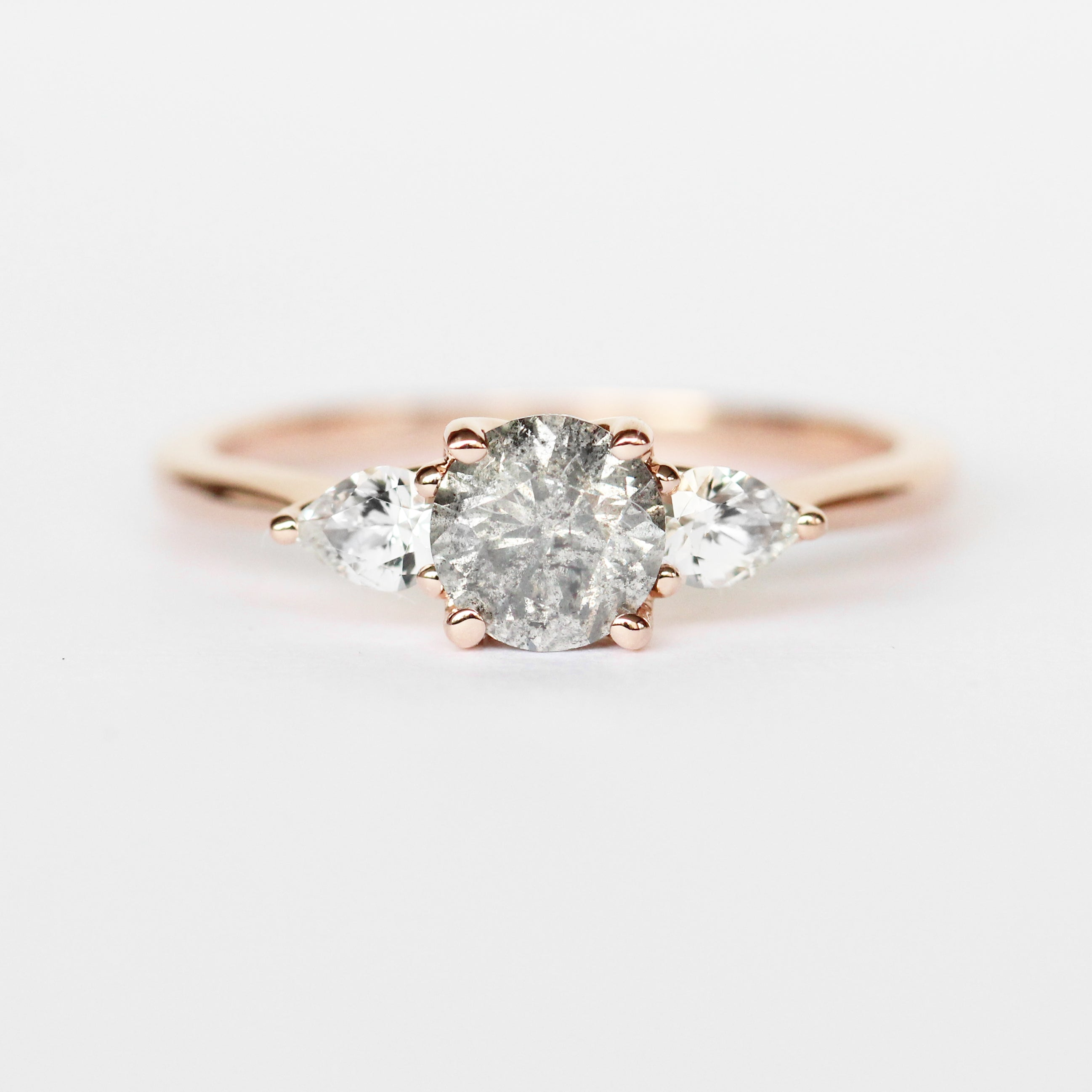 Oleander Ring with a .77 ct Round Celestial Diamond and White Sapphires in 14k Rose Gold - Ready to Size and Ship - Celestial Diamonds ® by Midwinter Co.
