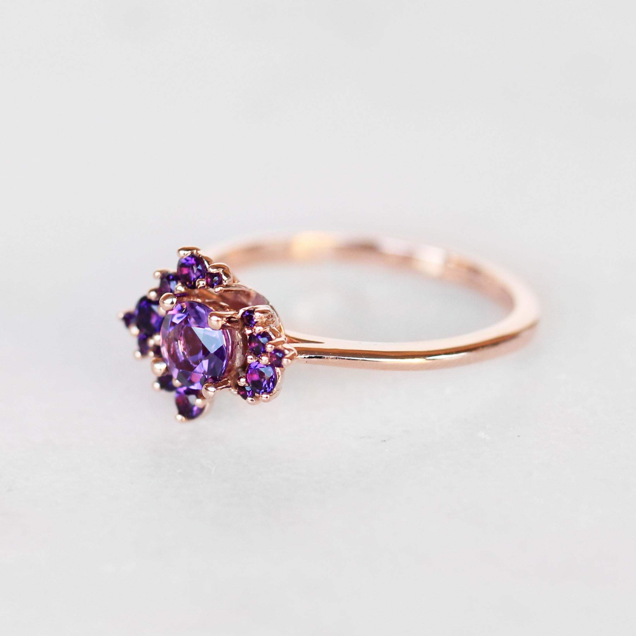 Orion Ring in all Amethyst in 10k Rose Gold - Ready to Size and Ship - Celestial Diamonds ® by Midwinter Co.