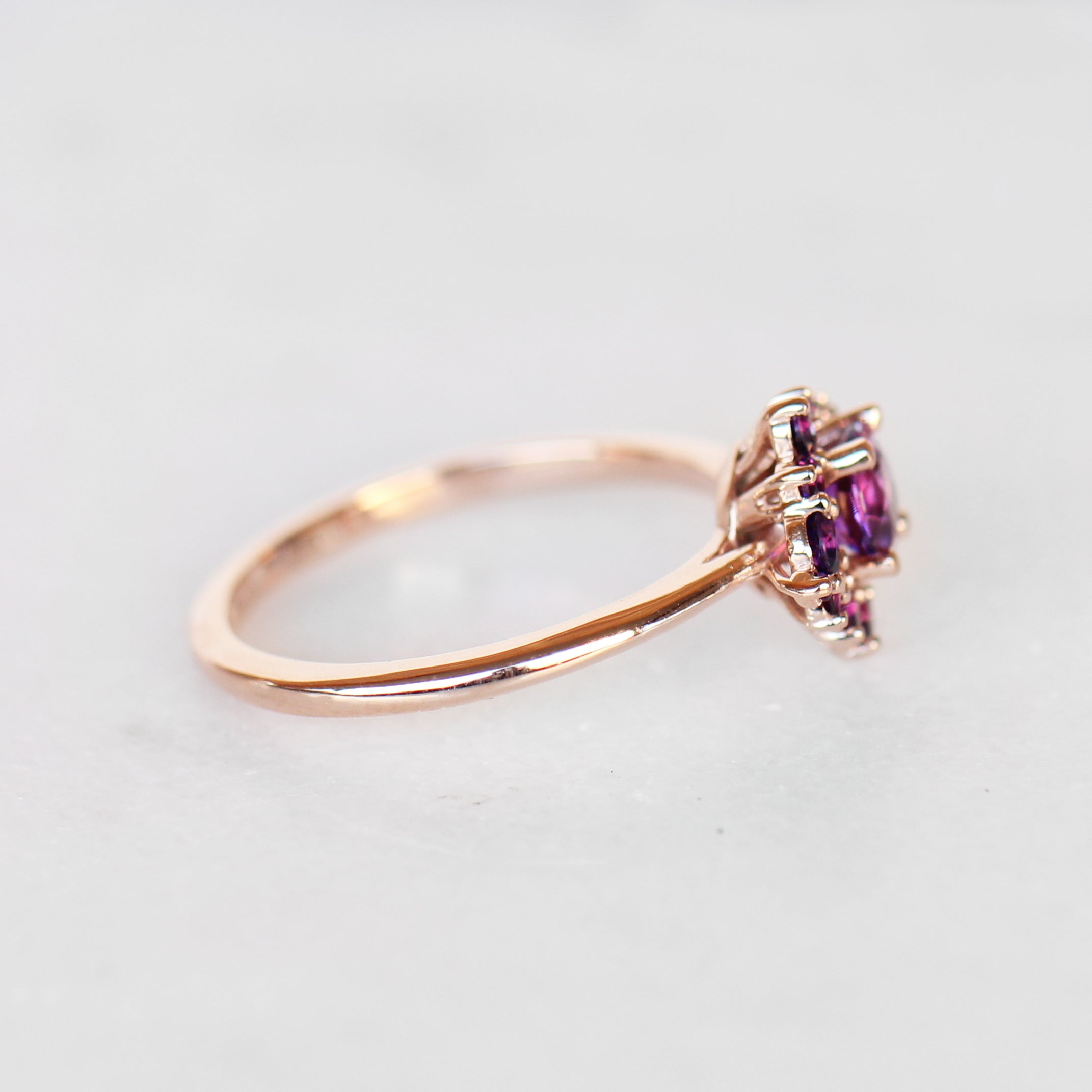 Orion Ring in all Amethyst in 10k Rose Gold - Ready to Size and Ship - Salt & Pepper Celestial Diamond Engagement Rings and Wedding Bands  by Midwinter Co.