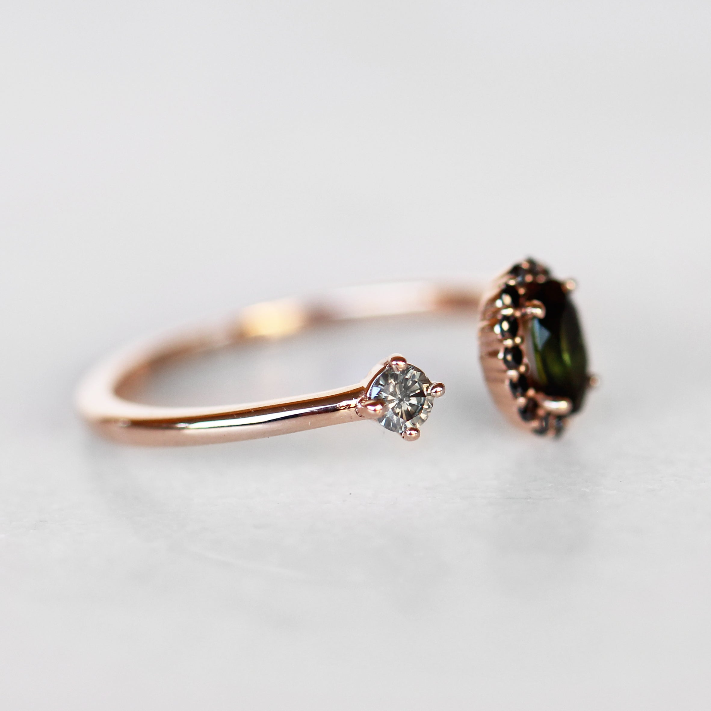 Celeste Ring with Oval Tourmaline and Diamond Accent in 10k Rose Gold - Ready to Size and Ship - Midwinter Co. Alternative Bridal Rings and Modern Fine Jewelry