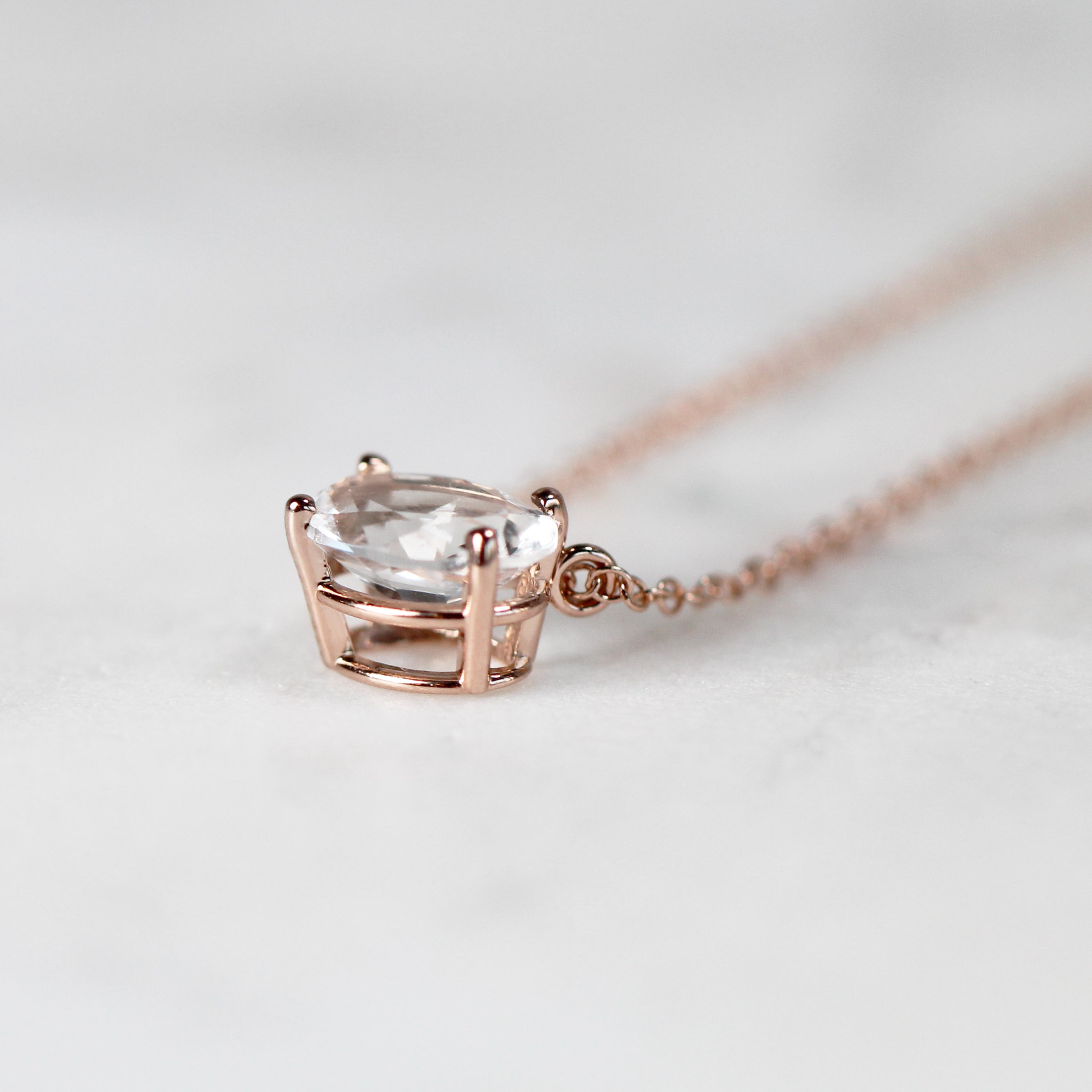 Oval White Sapphire Pendant Necklace - 14k Gold of choice - Celestial Diamonds ® by Midwinter Co.
