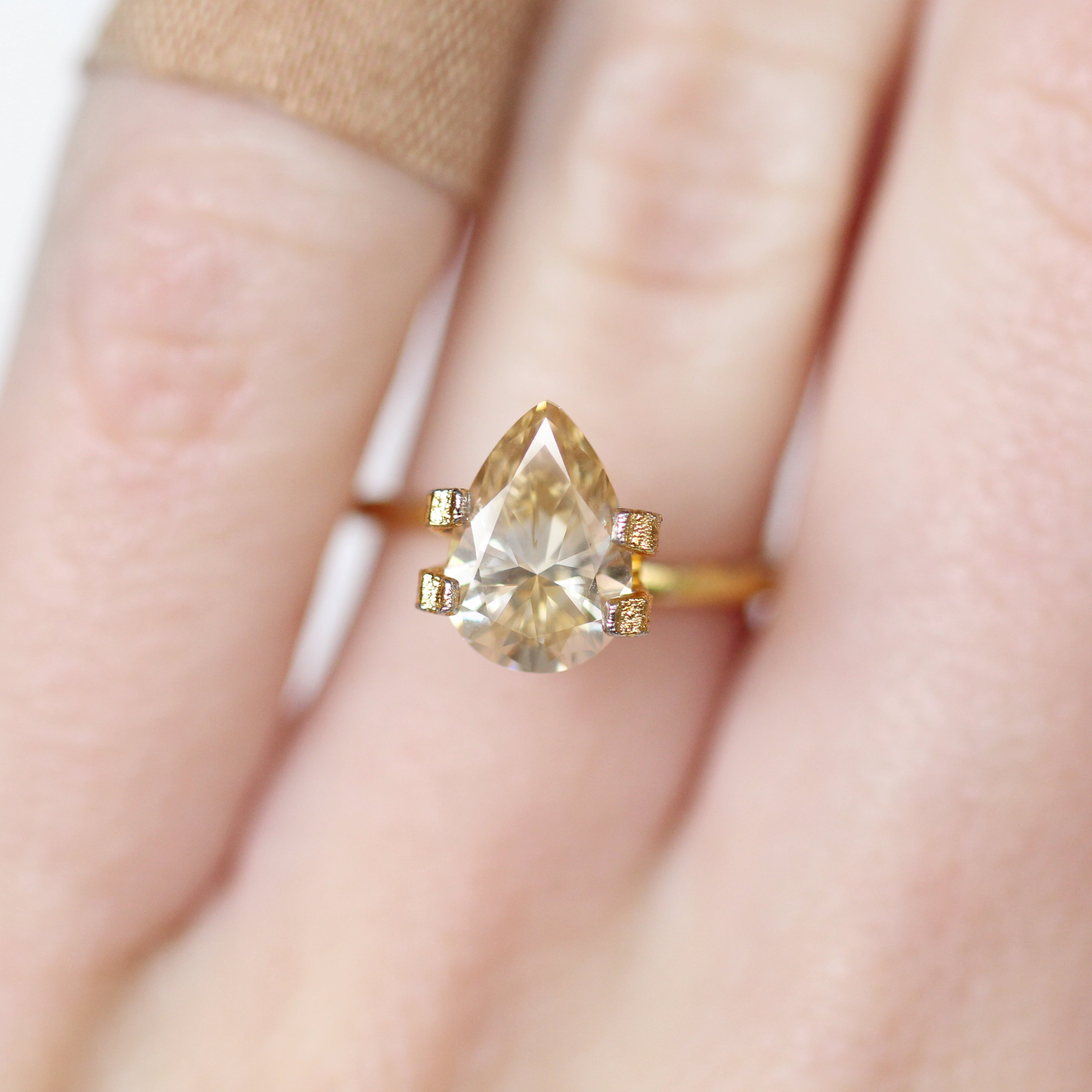 1.75 Carat Pear Moissanite- Inventory Code PBMOI175 - Salt & Pepper Celestial Diamond Engagement Rings and Wedding Bands  by Midwinter Co.