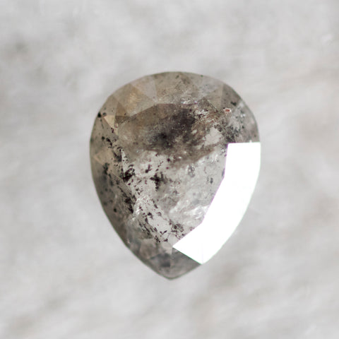 1.23 carat pear gray celestial diamond - salt and pepper rose cut - inventory code: PRG123