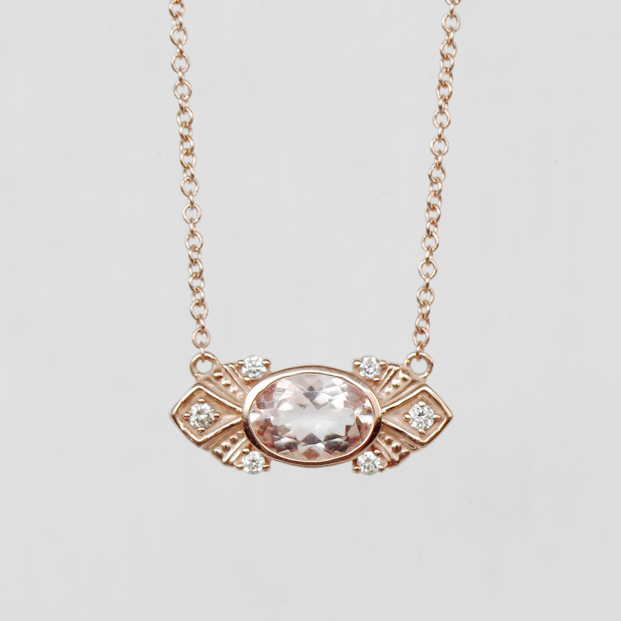 Parker Necklace with Morganite and Diamonds - 14k Gold - Made to Order - Celestial Diamonds ® by Midwinter Co.