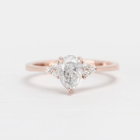Imogene Ring with Clear Pear and White Diamonds in 14k Rose Gold - Ready to size and ship