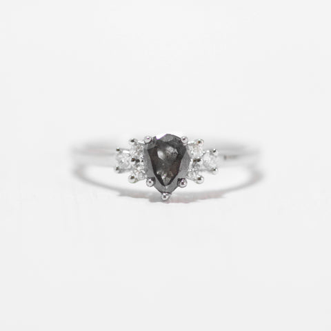 Veragene Ring with a Gray Celestial Pear Diamond in 14k white gold ring - ready to size and ship