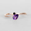 Piper Ring with Onyx and Pear Amethyst in 10k Rose Gold - Ready to Size and Ship - Salt & Pepper Celestial Diamond Engagement Rings and Wedding Bands  by Midwinter Co.