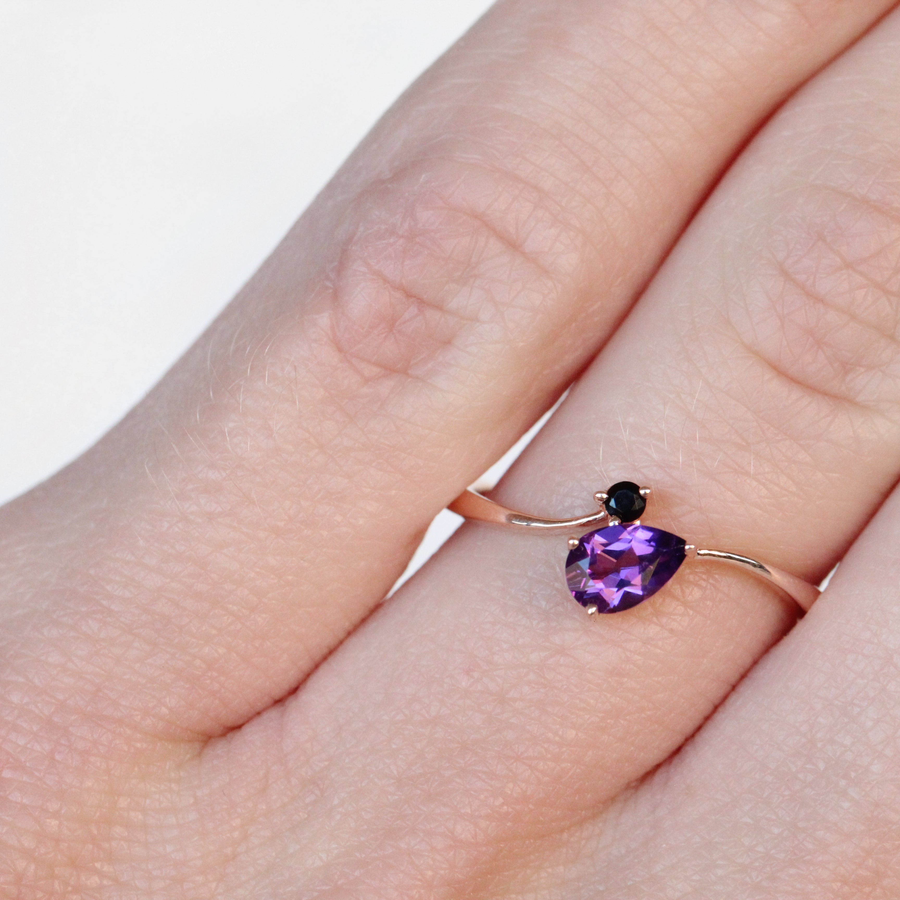 Piper Ring with Onyx and Pear Amethyst in 10k Rose Gold - Ready to Size and Ship - Celestial Diamonds ® by Midwinter Co.