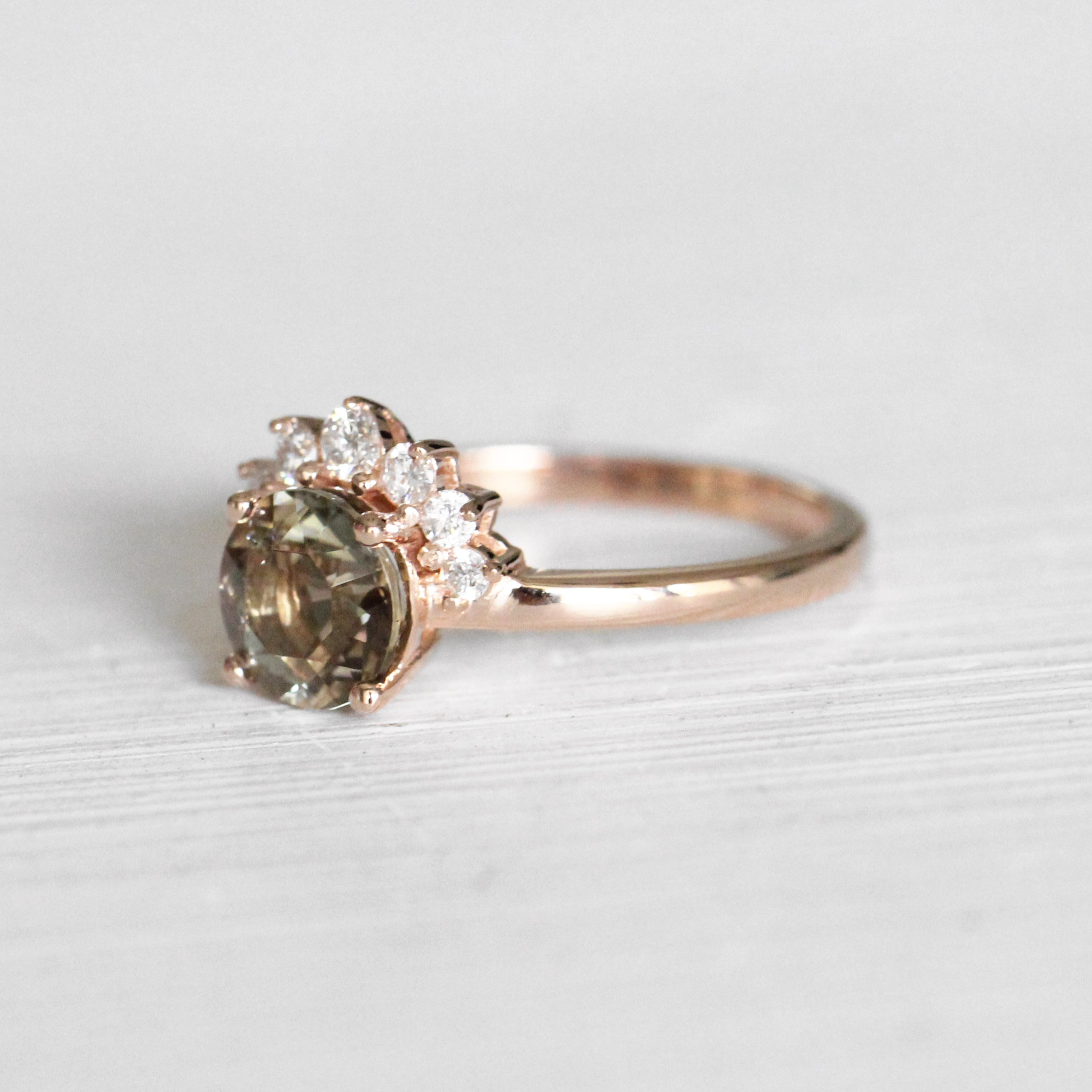 Blythe Ring with Champagne Green Oregon Sunstone in 10k Rose Gold - Ready to Size and Ship - Celestial Diamonds ® by Midwinter Co.