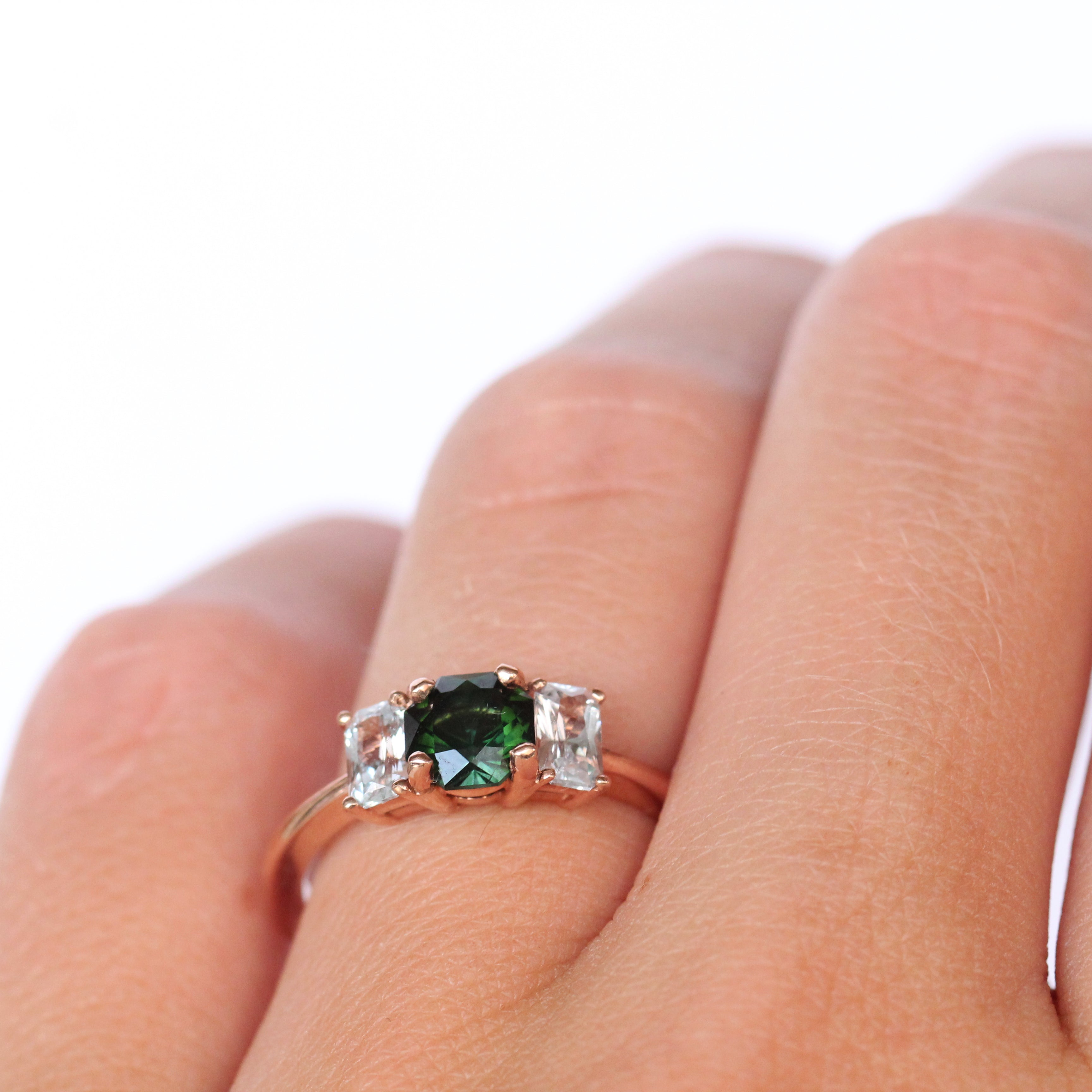 Hellen - Tourmaline and Topaz Three Stone Ring - Ready to size and ship - Celestial Diamonds ® by Midwinter Co.