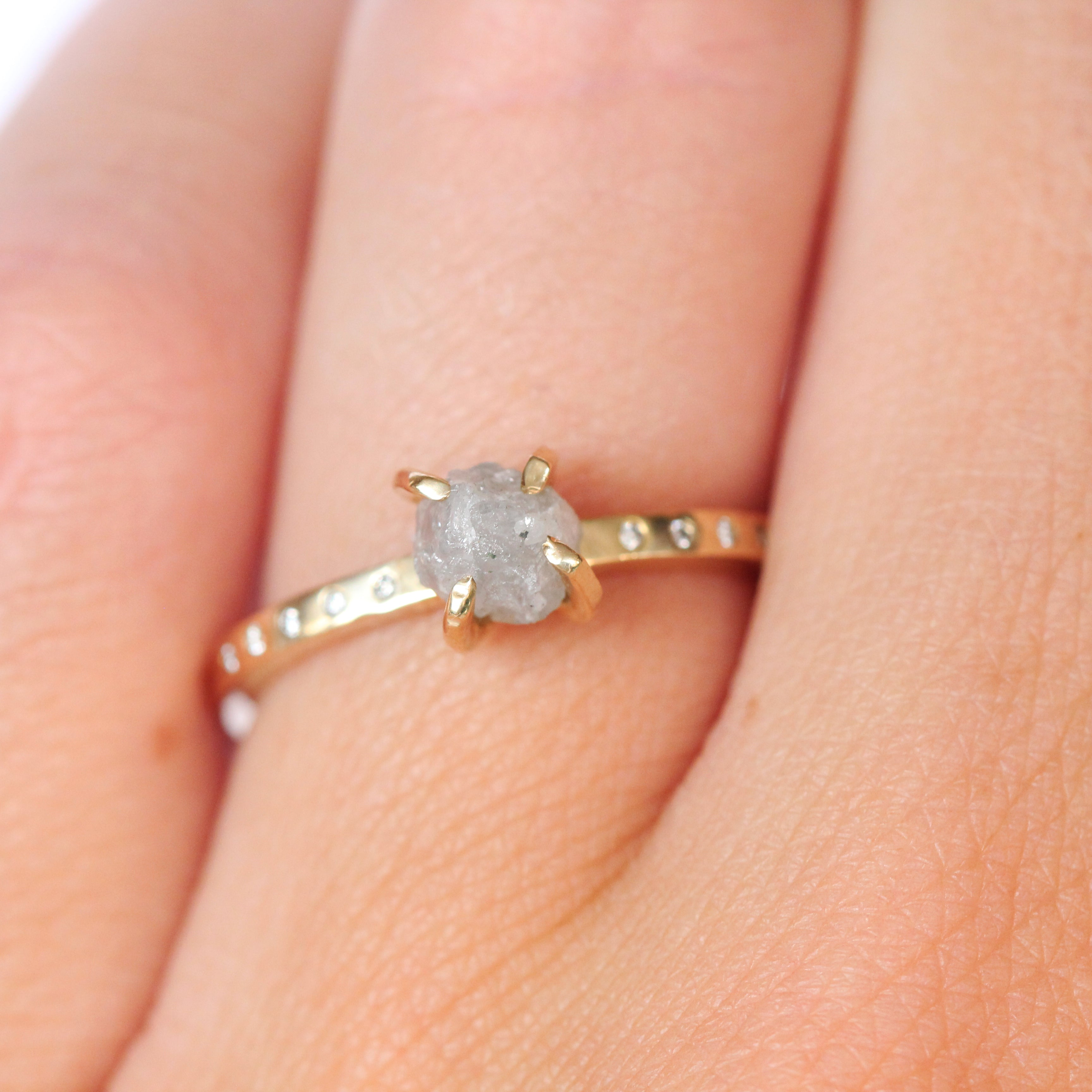 Ivan Ring with a Rough Cut Diamond in 14k Yellow Gold - Ready to Ship in size 6