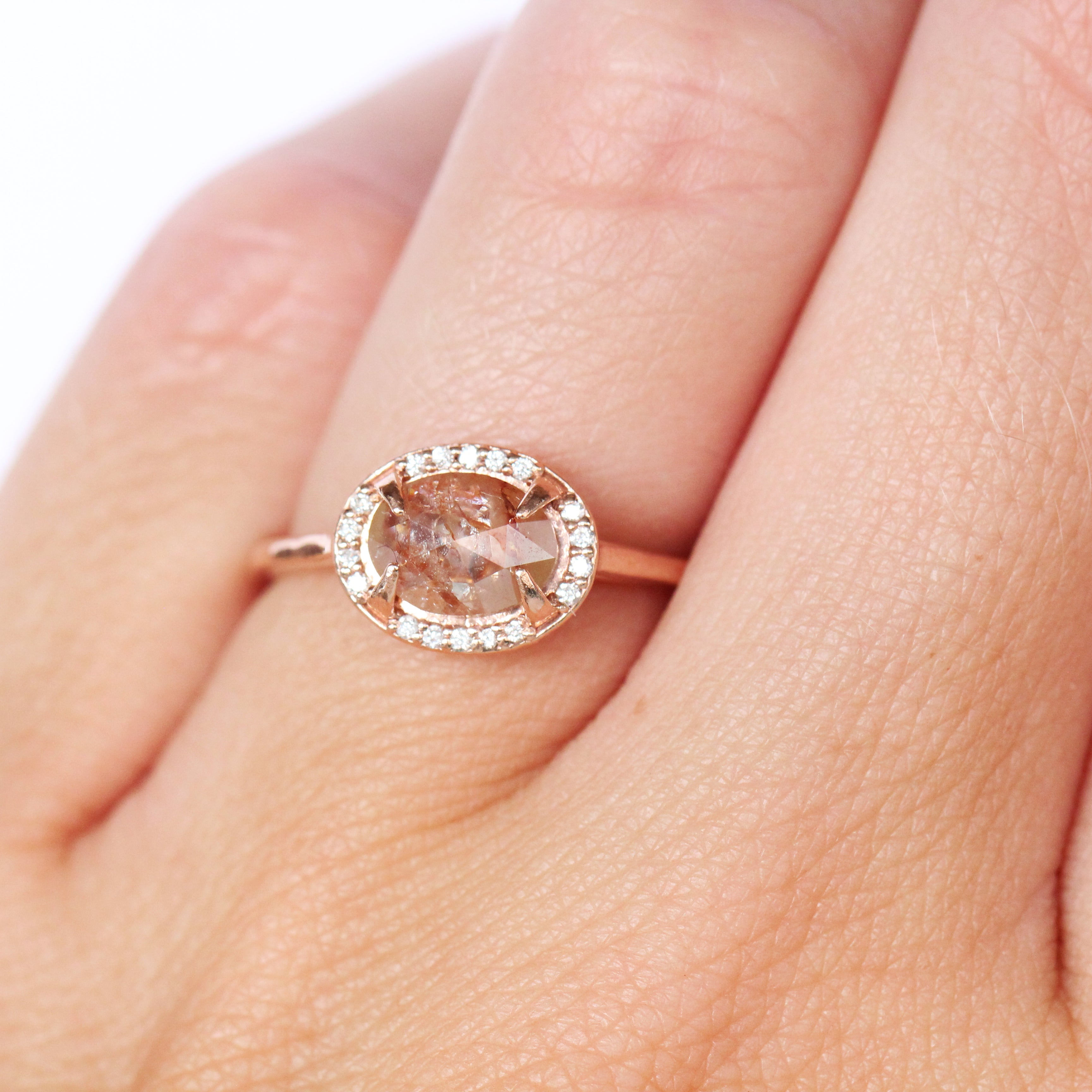 Kira Ring - Orange and Peach Diamond with Halo in 10k Rose Gold - Ready to Size and Ship - Celestial Diamonds ® by Midwinter Co.