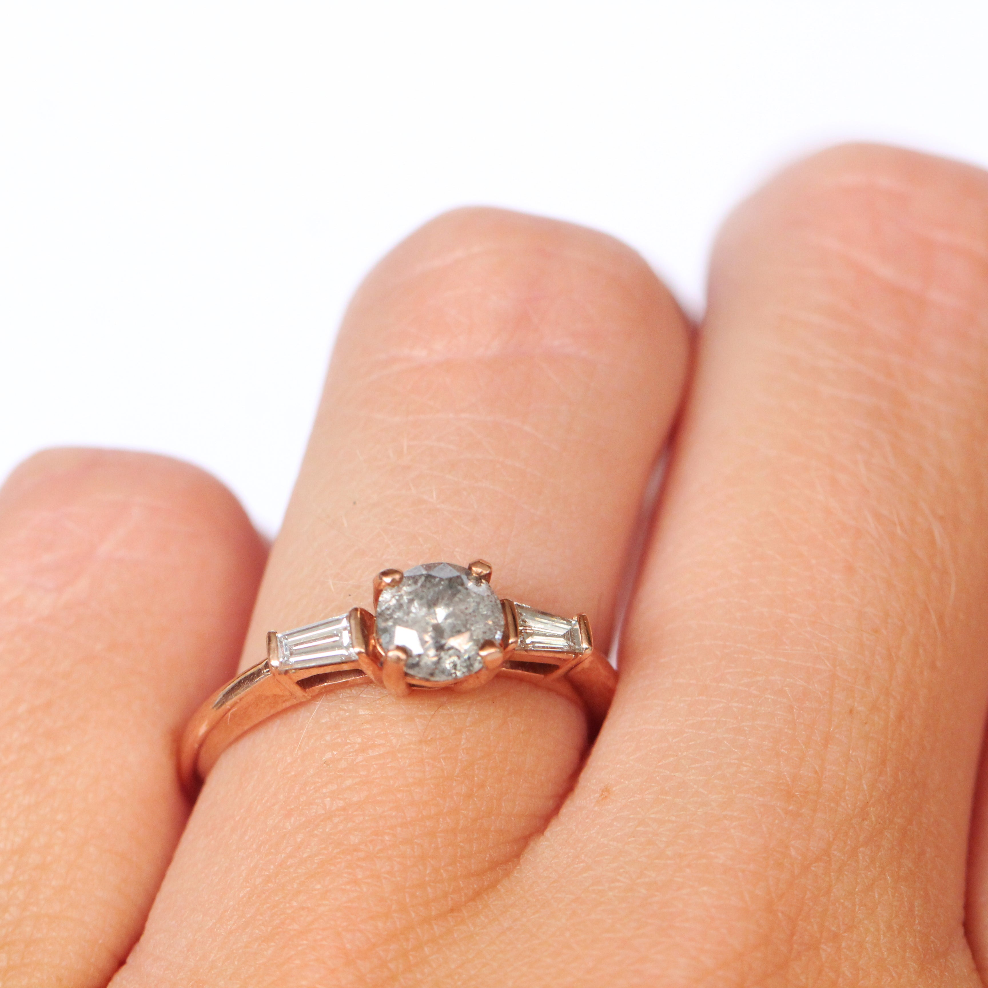 Leilani Ring with a Celestial Diamond and Accent Diamonds in 10k Rose Gold - Ready to Size and Ship