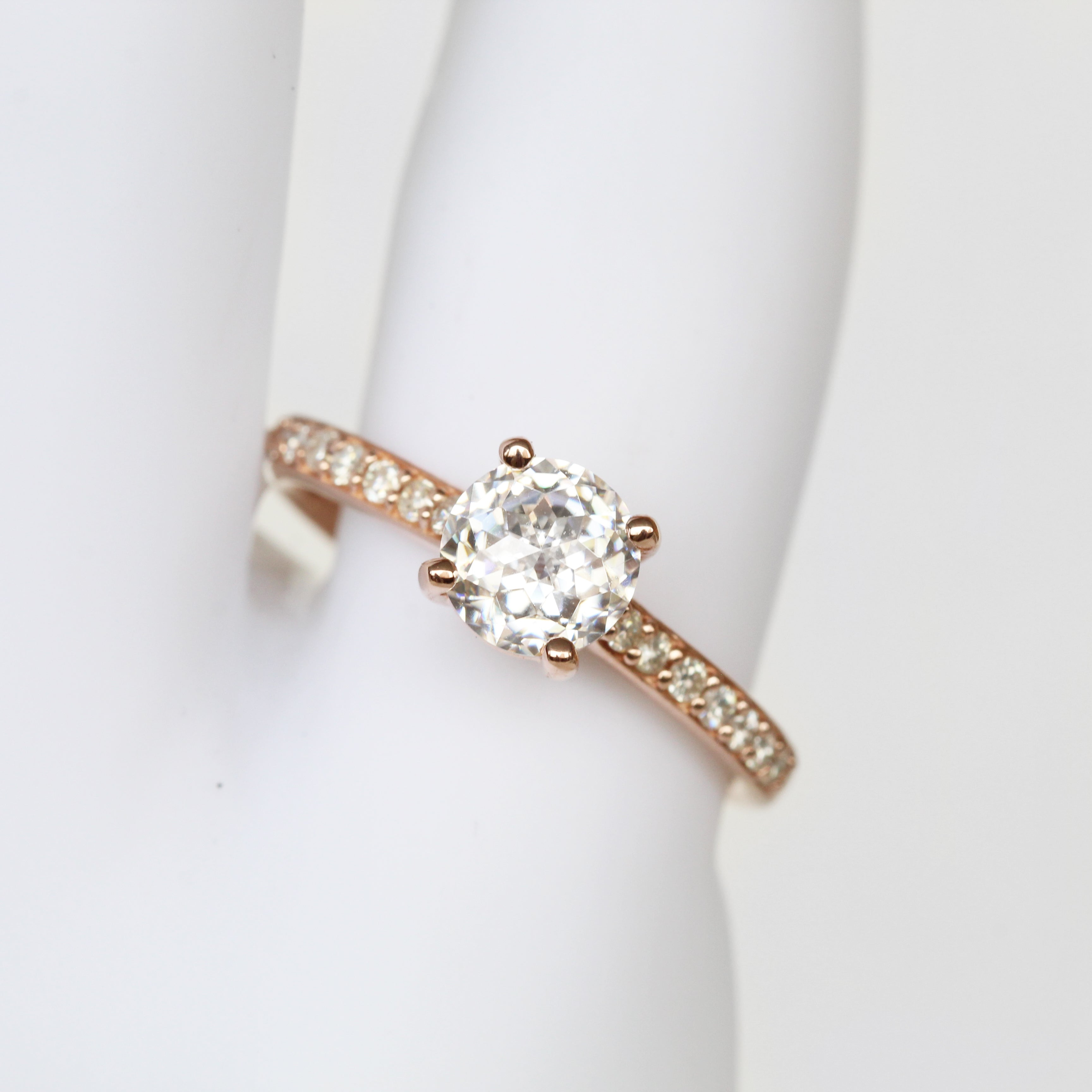 Raine Ring with 1.20ct Jubilee Cut Moissanite in 10k Rose Gold - Ready to Size and Ship - Salt & Pepper Celestial Diamond Engagement Rings and Wedding Bands  by Midwinter Co.