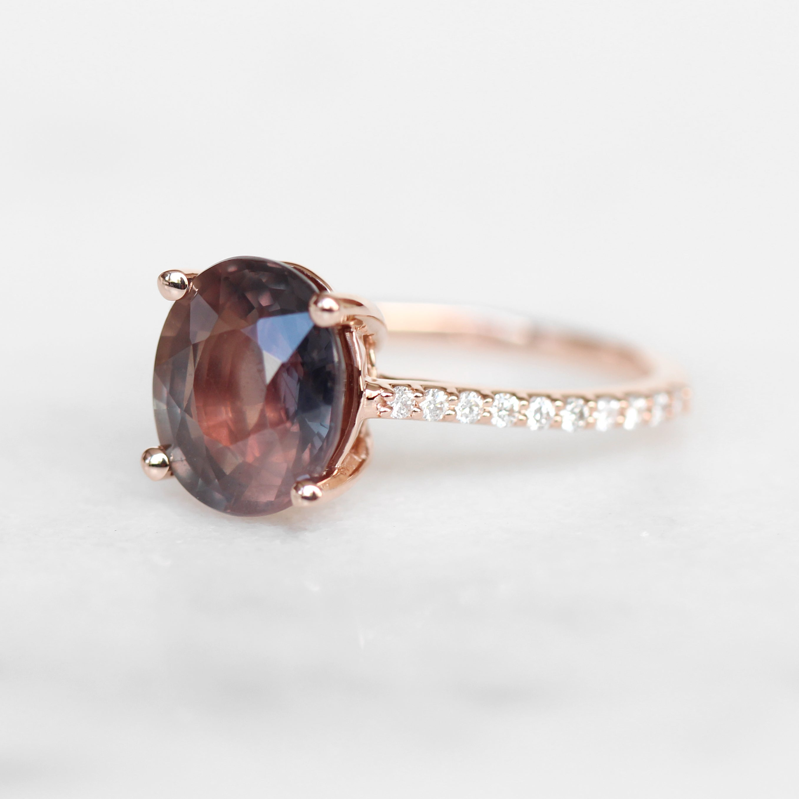 Raine ring with 4.35 carat oval color changing natural Sapphire and diamonds in 10k rose gold - ready to size and ship - Salt & Pepper Celestial Diamond Engagement Rings and Wedding Bands  by Midwinter Co.
