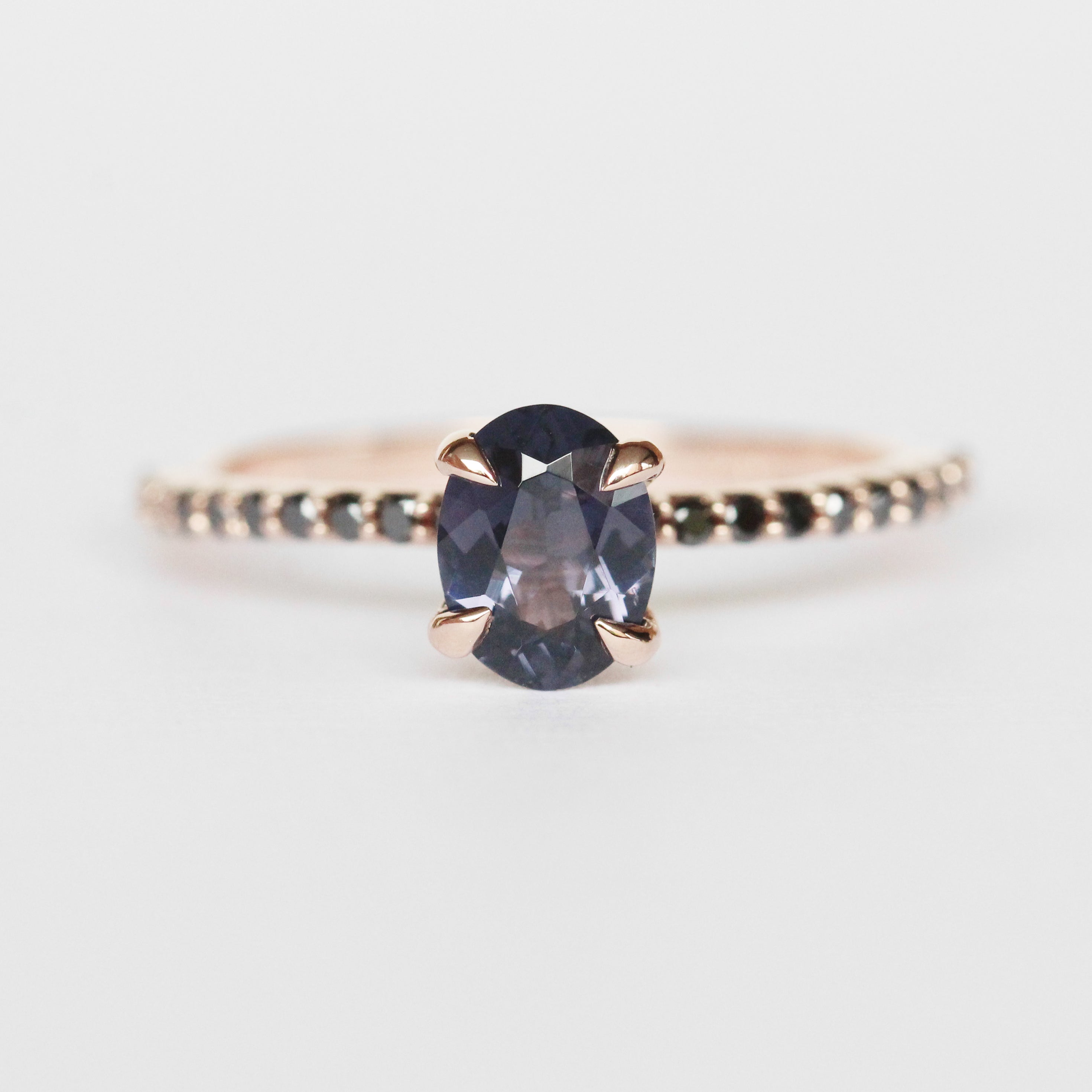 Raine Ring with Purple Spinel and Black Diamond Accents in 10k Rose Gold - Ready to Size and Ship - Salt & Pepper Celestial Diamond Engagement Rings and Wedding Bands  by Midwinter Co.