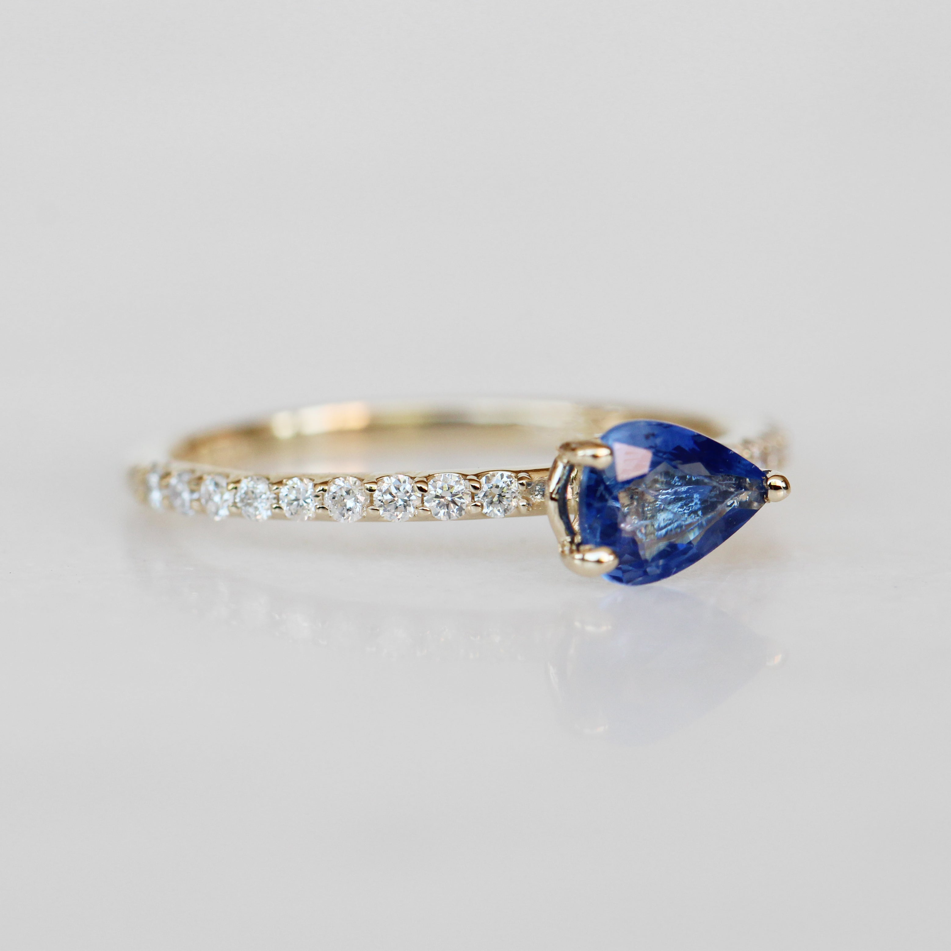 Raine Ring with a Pear Sapphire in 10k Yellow Gold - Ready to Size and Ship - Salt & Pepper Celestial Diamond Engagement Rings and Wedding Bands  by Midwinter Co.
