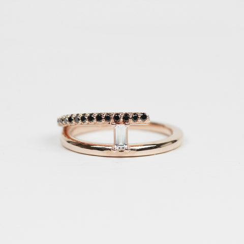 Raj - Asymmetrical Ring with Clear Sapphire and Black Diamonds