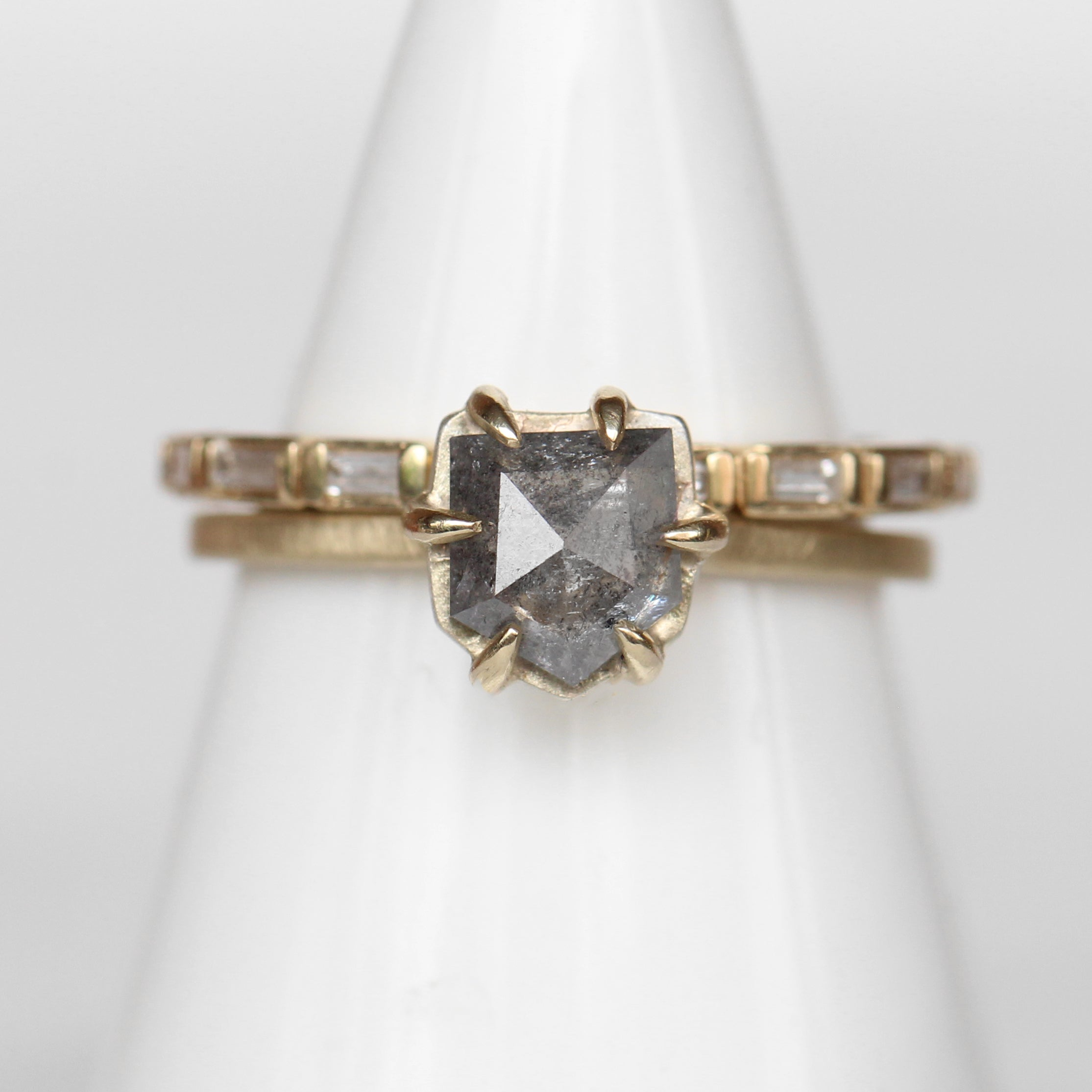 Raven Ring with celestial pentagon diamond in 14k yellow gold - ready to size and ship - Salt & Pepper Celestial Diamond Engagement Rings and Wedding Bands  by Midwinter Co.