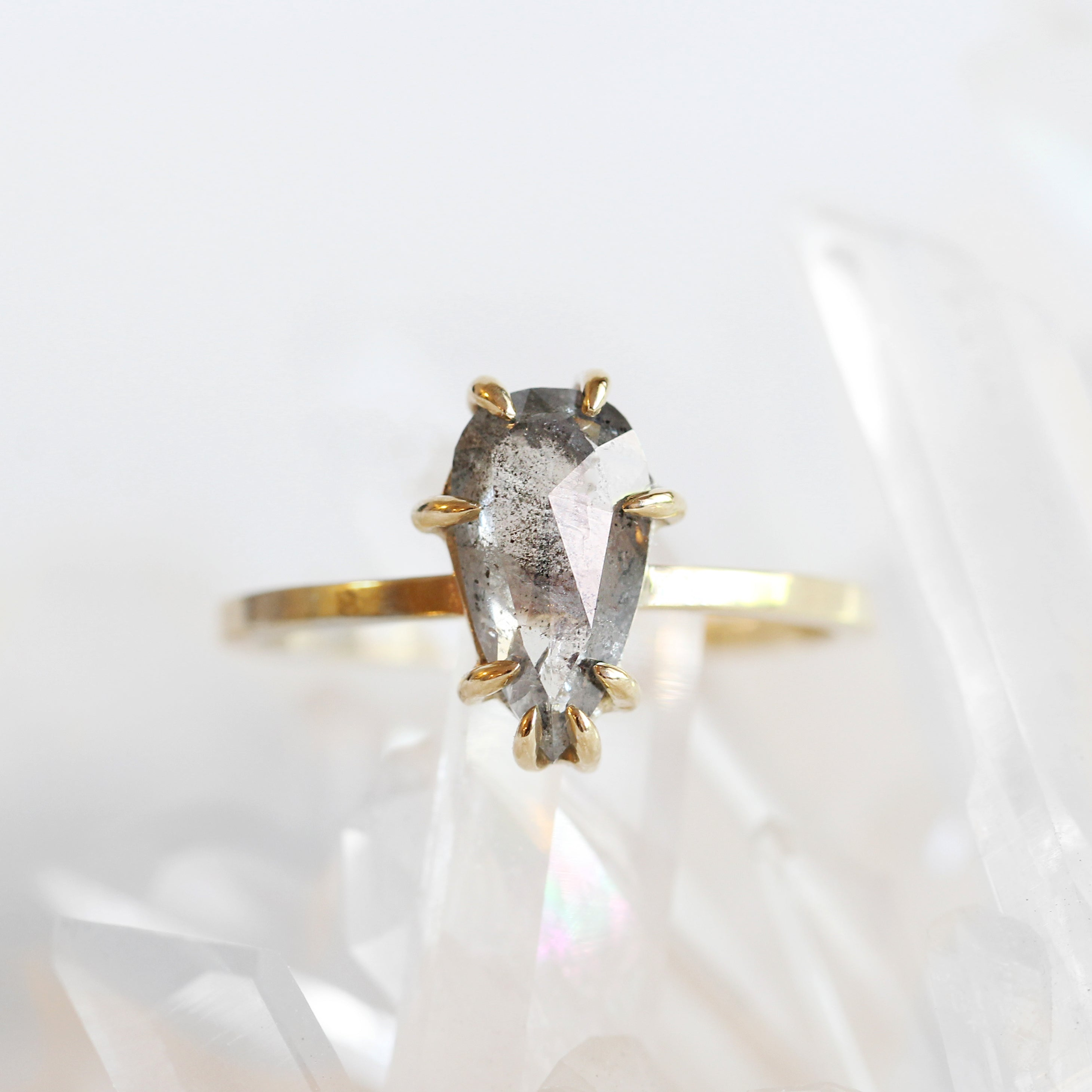 Raven Ring with Light Gray Celestial Pear Diamond in 14k Yellow Gold - Ready to Size and Ship