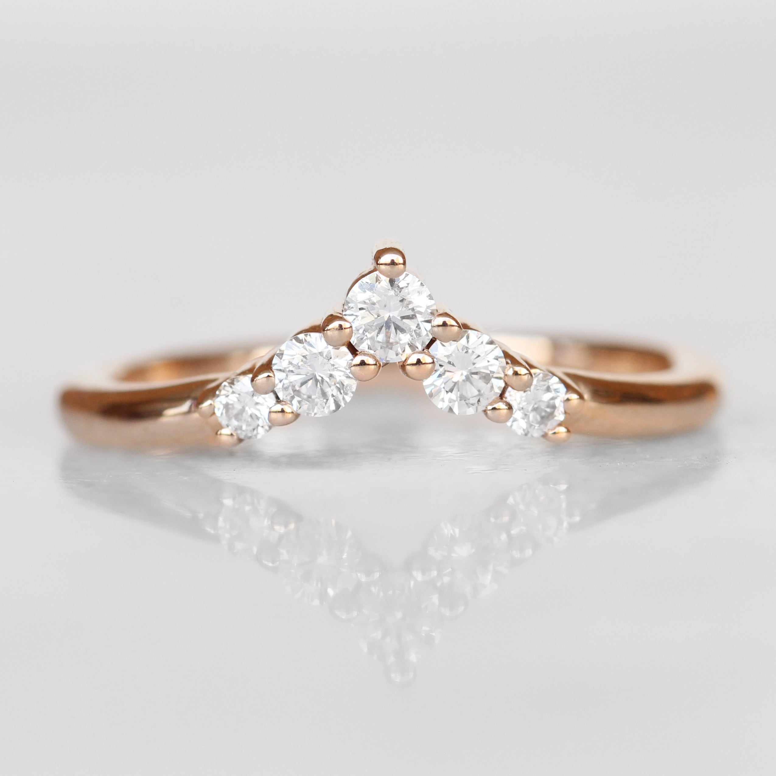 Rhiannon White Diamond Band - Contour Point V Shape Diamond Band - Gold of choice - Salt & Pepper Celestial Diamond Engagement Rings and Wedding Bands  by Midwinter Co.