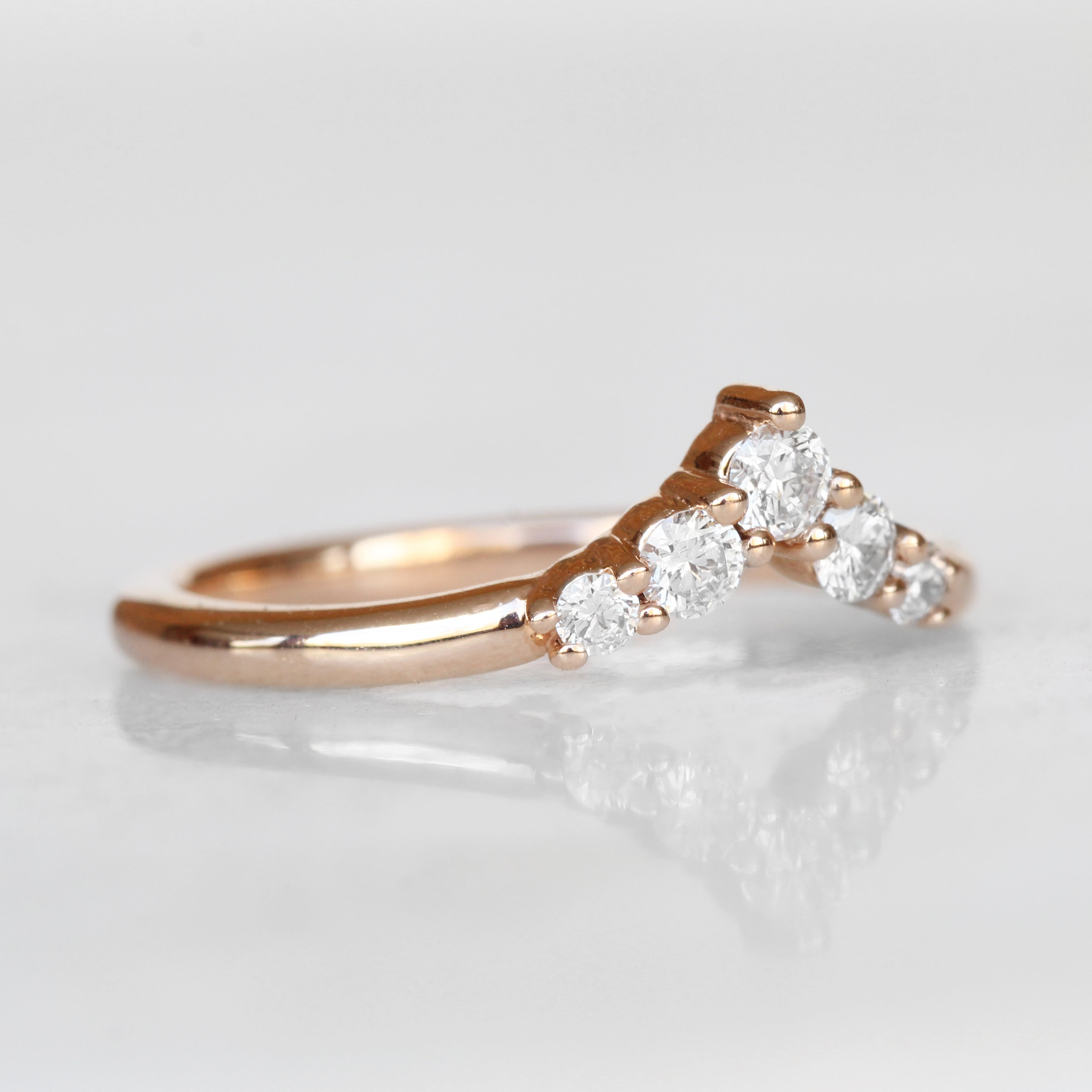 Rhiannon White Diamond Band - Contour Point V Shape Diamond Band - Gold of choice - Midwinter Co. Alternative Bridal Rings and Modern Fine Jewelry