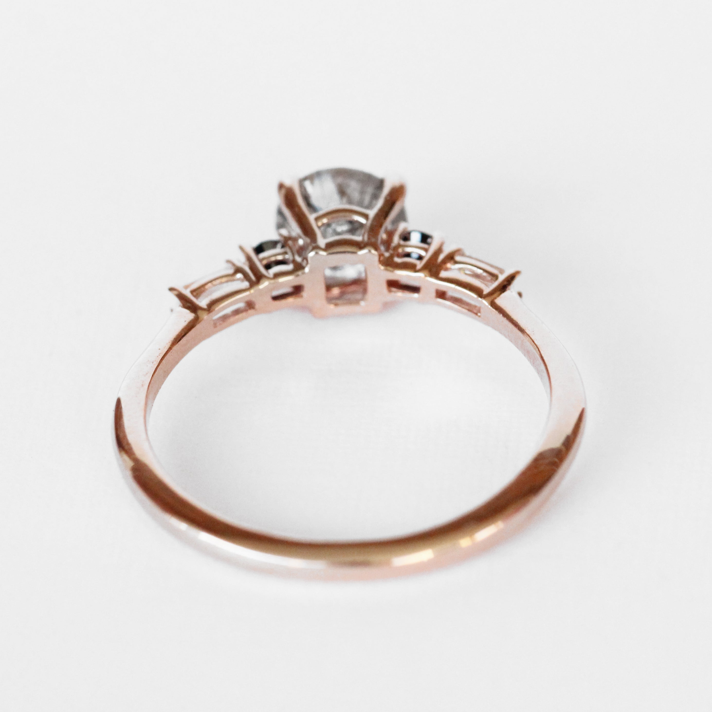 River Ring with a Rutilated Quartz and Diamond Accents in 10k Rose Gold - Ready to Size and Ship