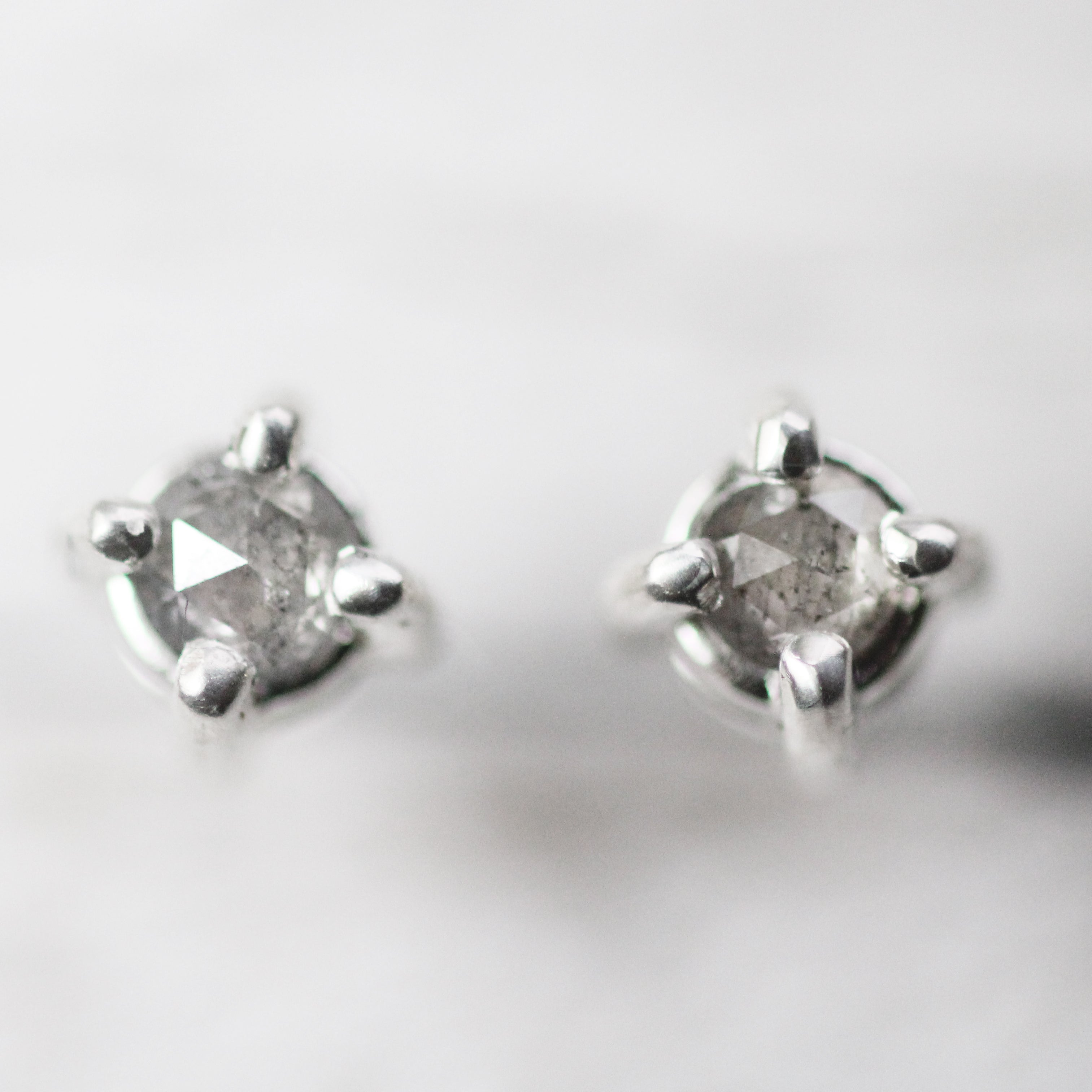 14k Gold Gray Diamond Earring Studs - Rose Cut Celestial - Ready to ship fast
