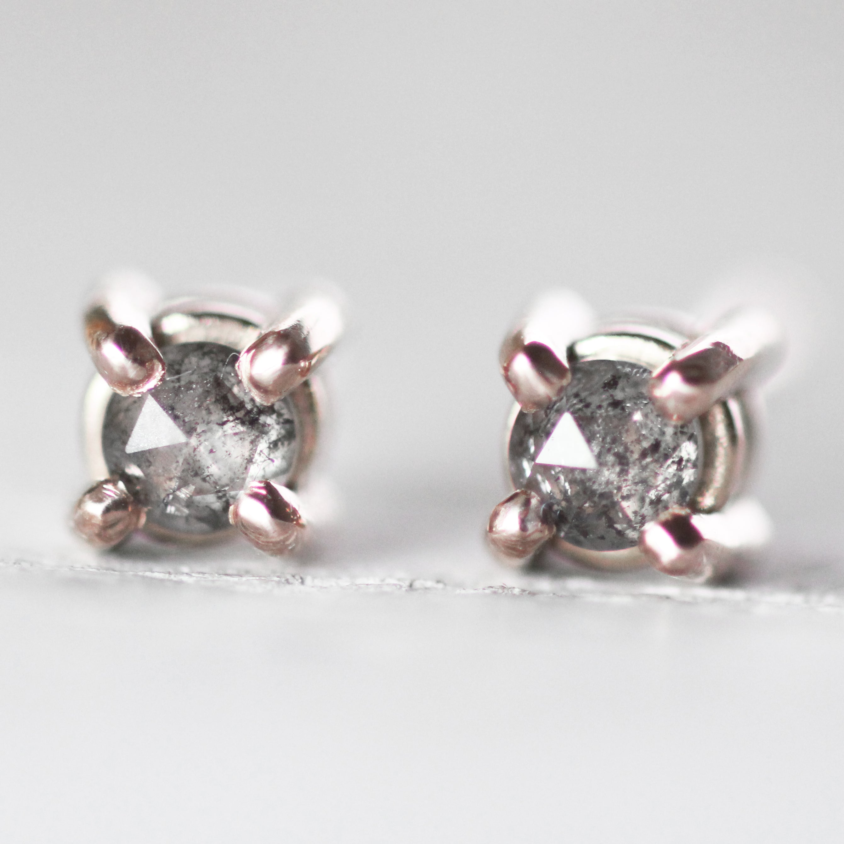14k Gold Gray Diamond Earring Studs - Rose Cut Celestial - Made to Order + Will Ship Fast - Celestial Diamonds ® by Midwinter Co.