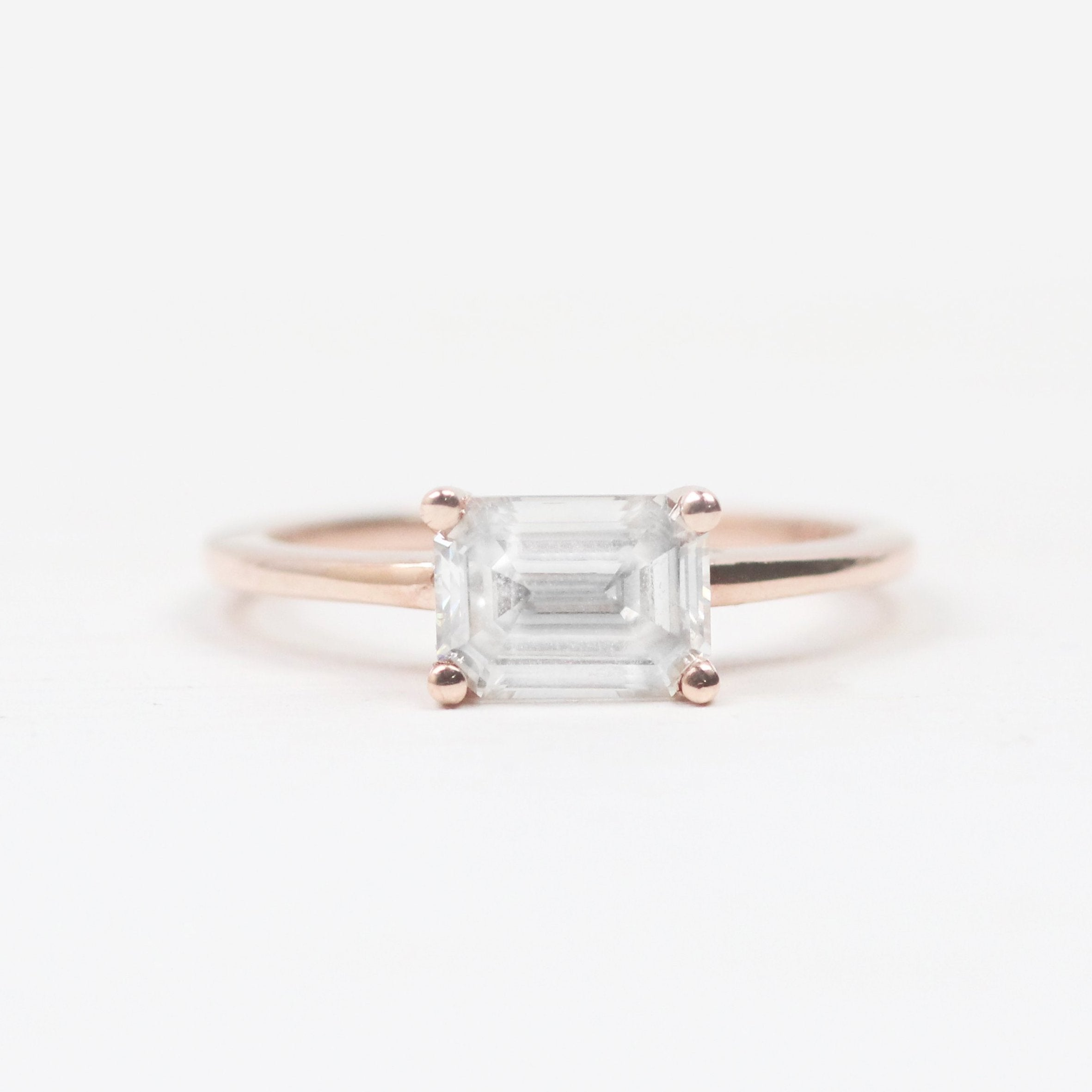 Ruthie Ring with Clear 1 Carat Moissanite - 10k Rose Gold - Ready to ship soon