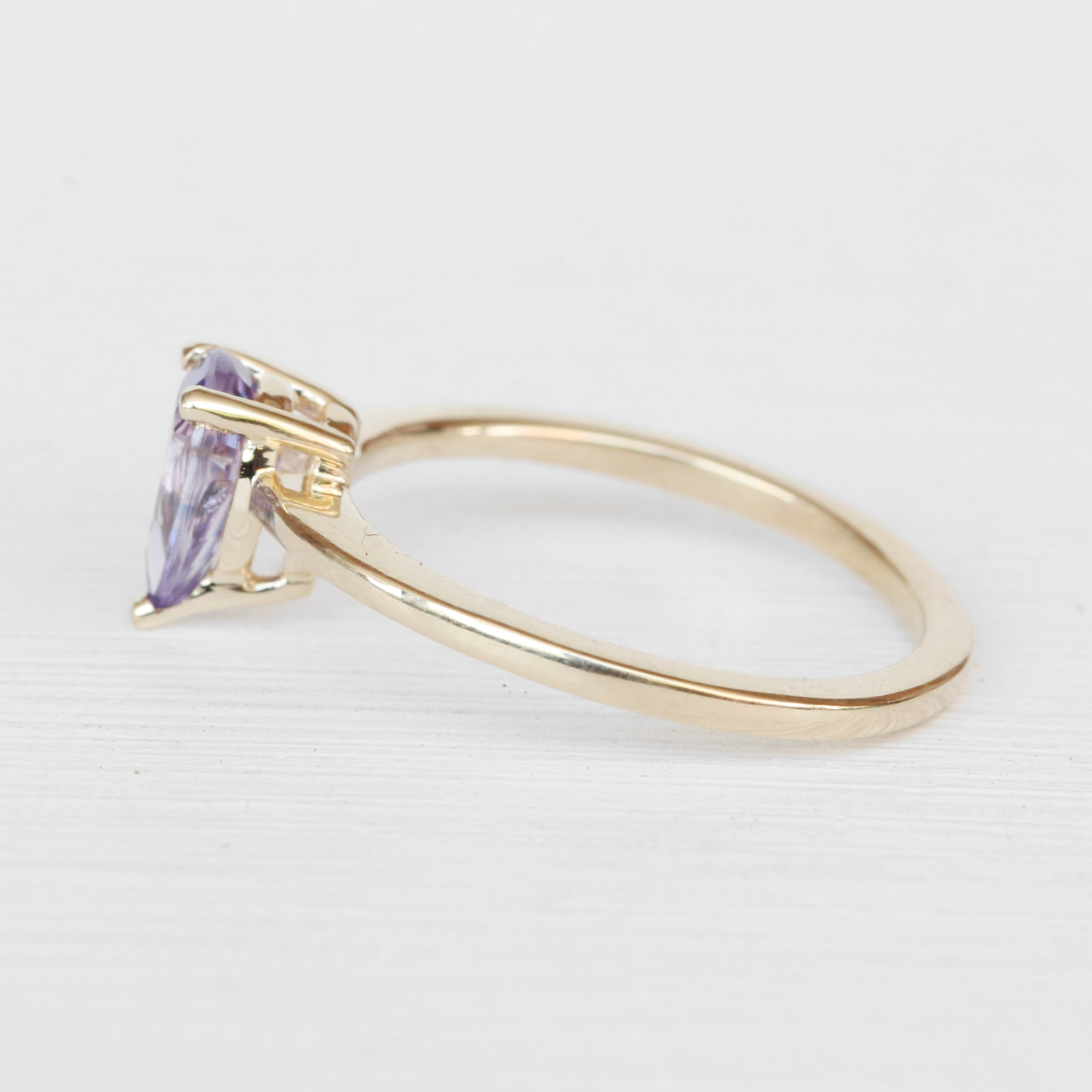 Ruthie Ring with a Pear Sapphire in 14k Yellow Gold - Ready to Size and Ship - Celestial Diamonds ® by Midwinter Co.