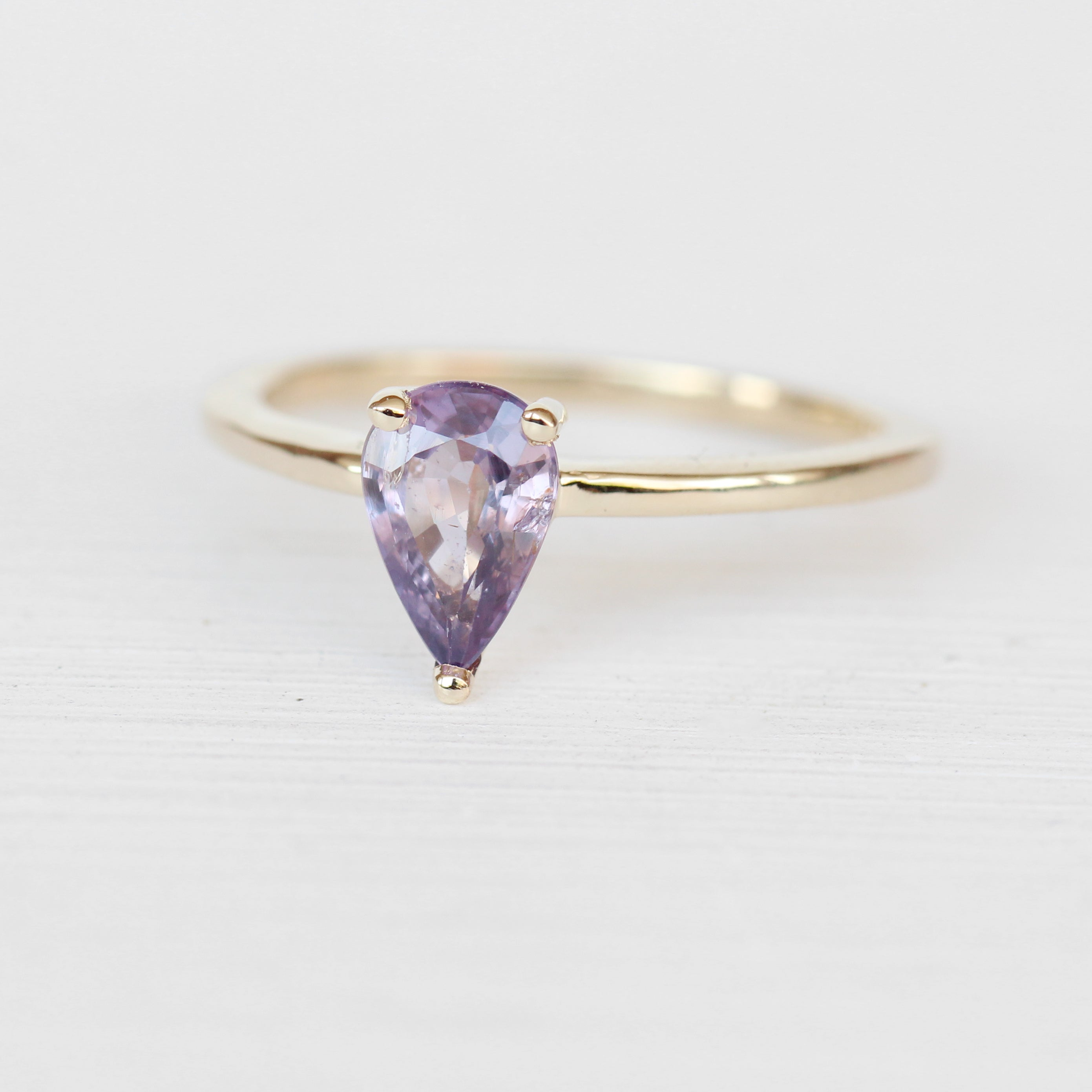 Ruthie Ring with a Pear Sapphire in 14k Yellow Gold - Ready to Size and Ship