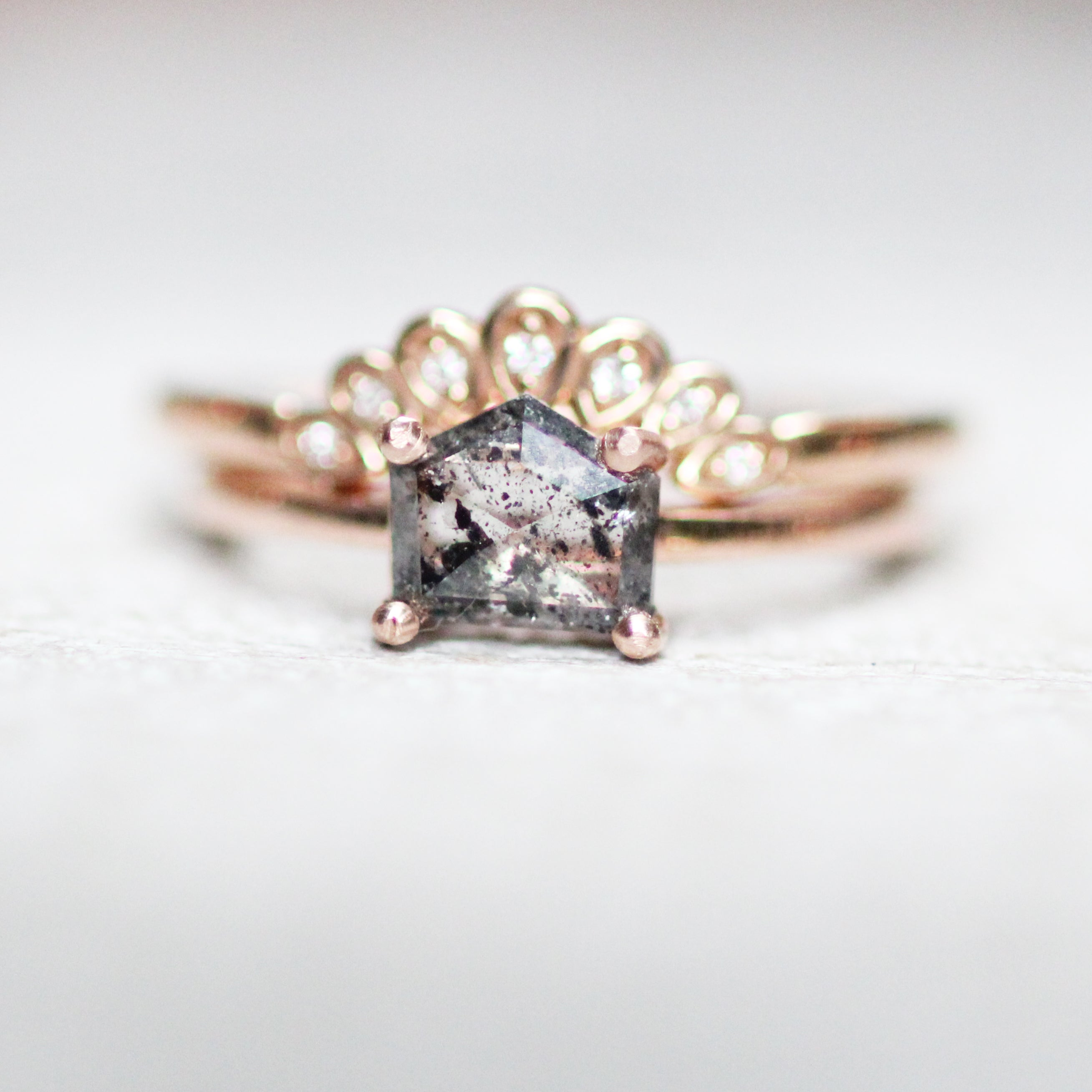 Ruthie Ring with a Gray Black Celestial Pentagon Diamond in 10k Rose Gold - Ready to size and ship - Celestial Diamonds ® by Midwinter Co.