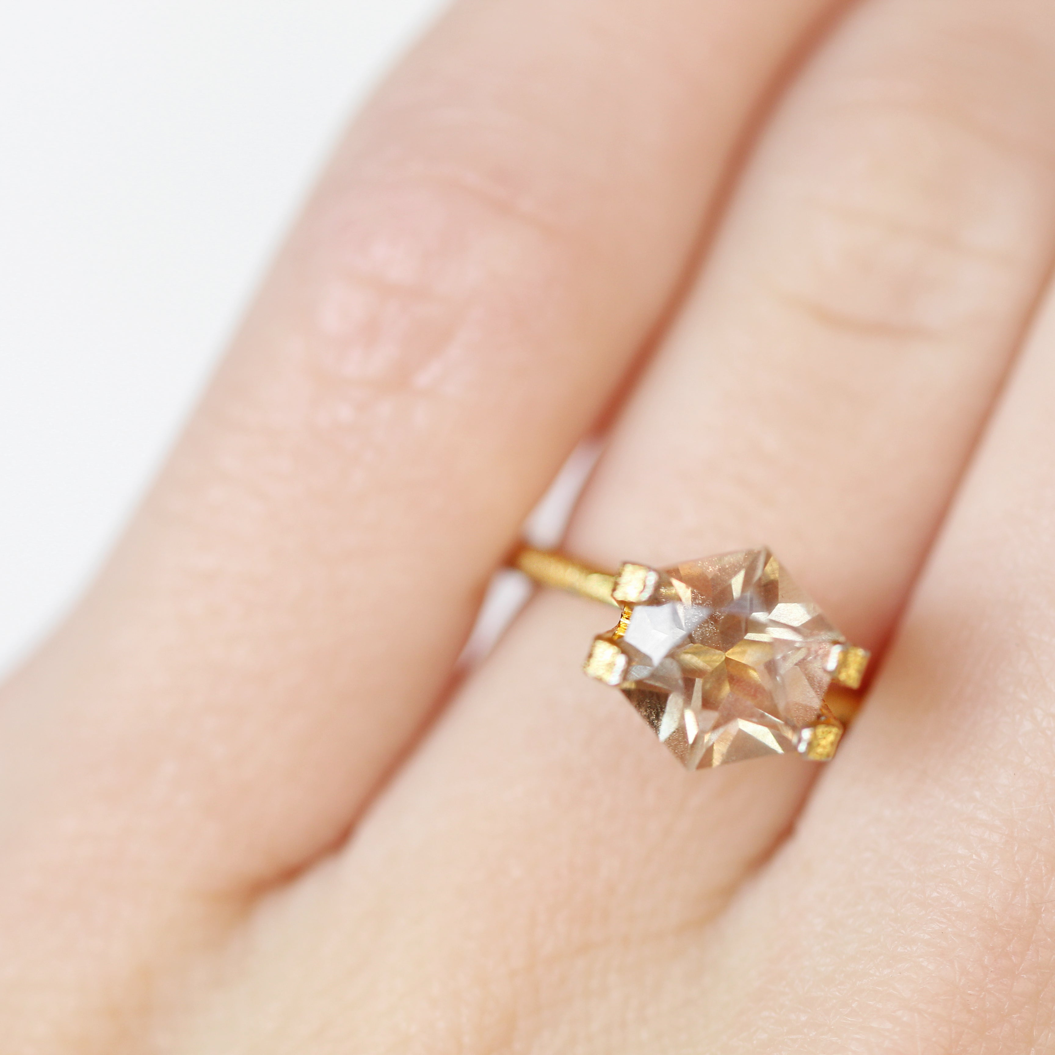 2.03 Carat Hexagon Sunstone- Inventory Code SUNHX203 - Salt & Pepper Celestial Diamond Engagement Rings and Wedding Bands  by Midwinter Co.