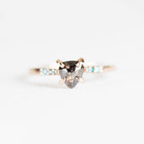 Sloan with dark gray celestial and aqua diamonds in 10k rose gold - ready to size and ship