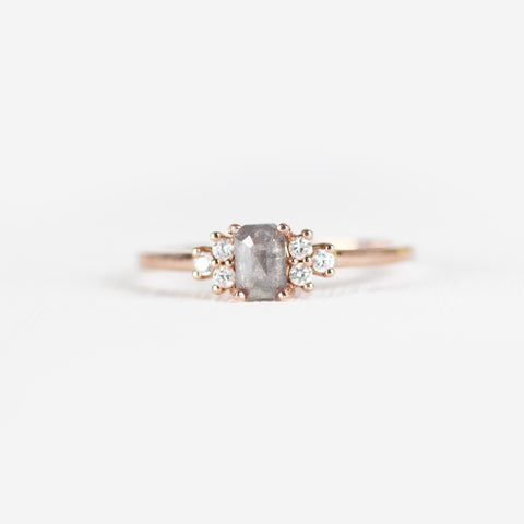 Veragene with misty gray emerald cut diamond in 14k rose gold ring - ready to size and ship