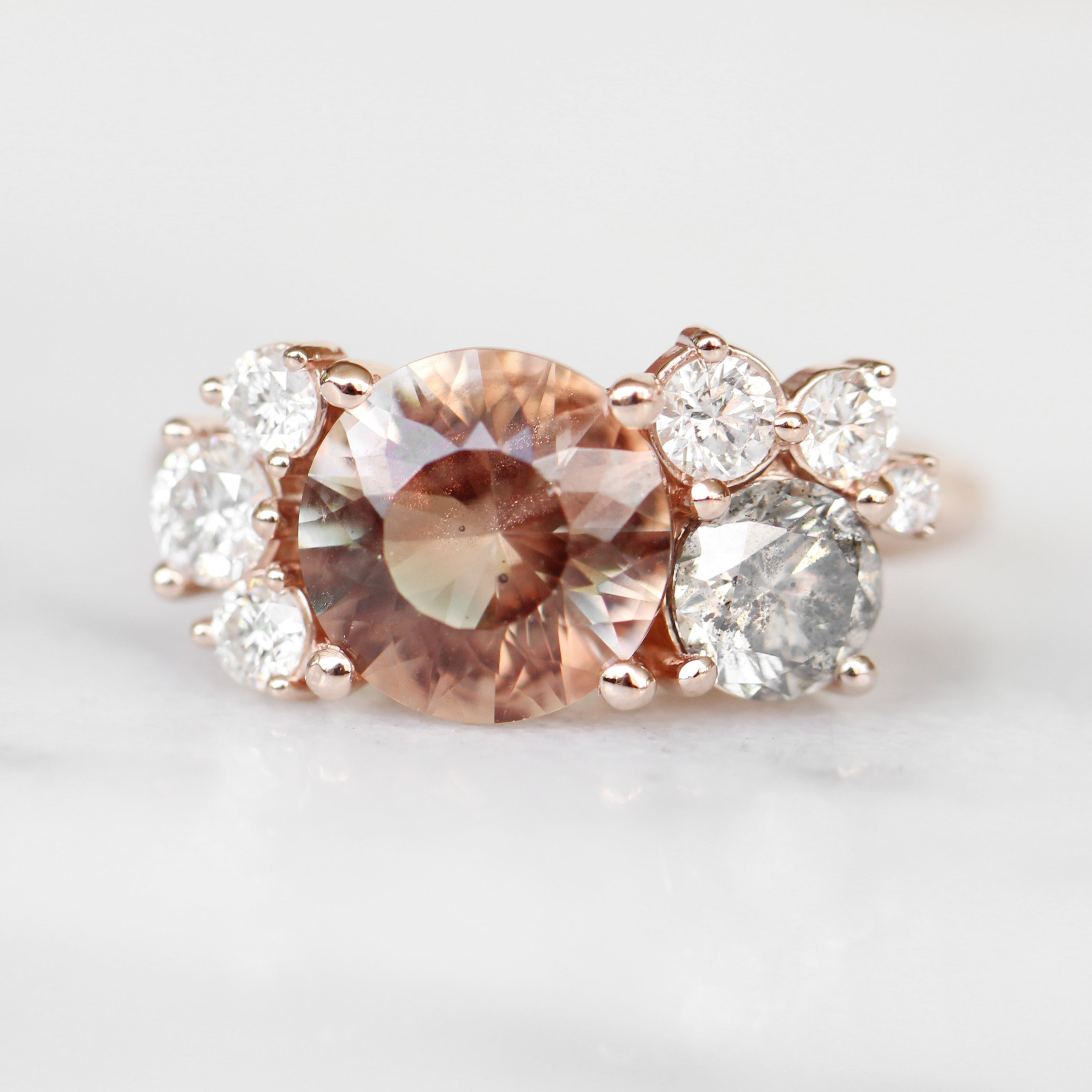 Safian cluster ring with Sunstone and Diamonds in 10k rose gold - ready to size and ship - Salt & Pepper Celestial Diamond Engagement Rings and Wedding Bands  by Midwinter Co.