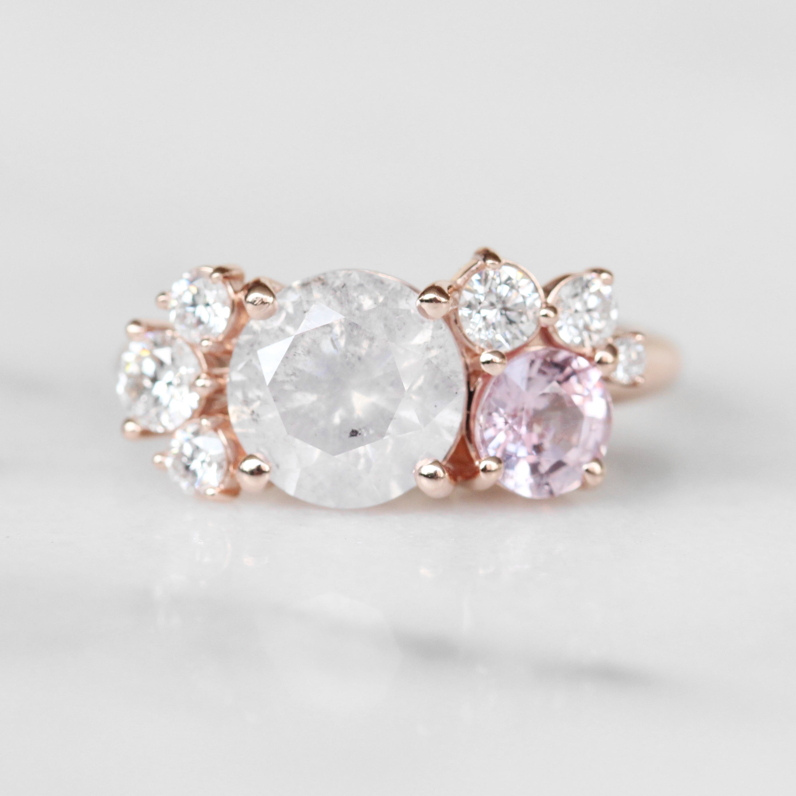 Safian cluster ring with Diamonds and Pink Sapphire in 10k rose gold - ready to size and ship - Salt & Pepper Celestial Diamond Engagement Rings and Wedding Bands  by Midwinter Co.