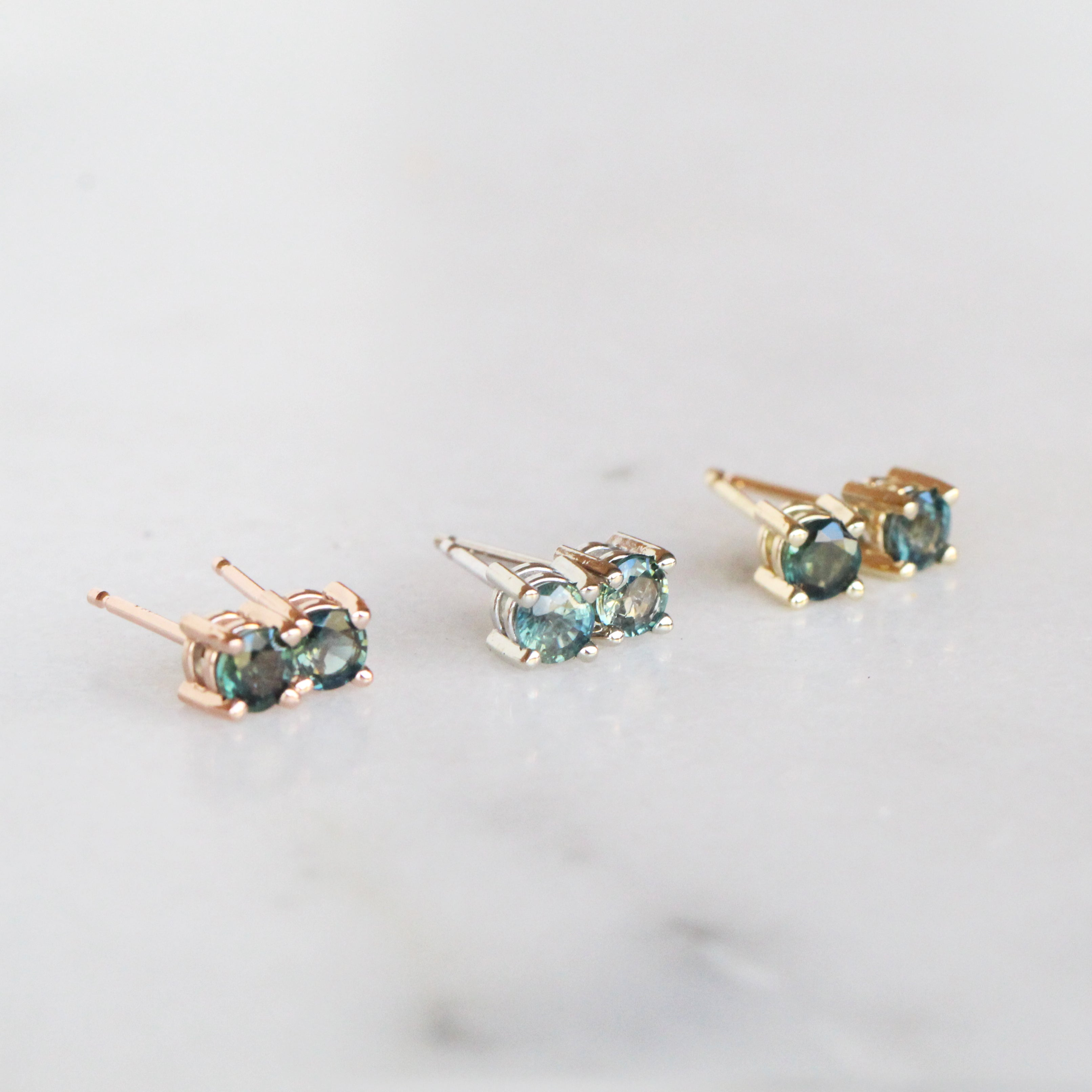 14k Gold Earring Studs with Teal Blue Green Sapphires - Your choice of metal- Ready to ship - Celestial Diamonds ® by Midwinter Co.