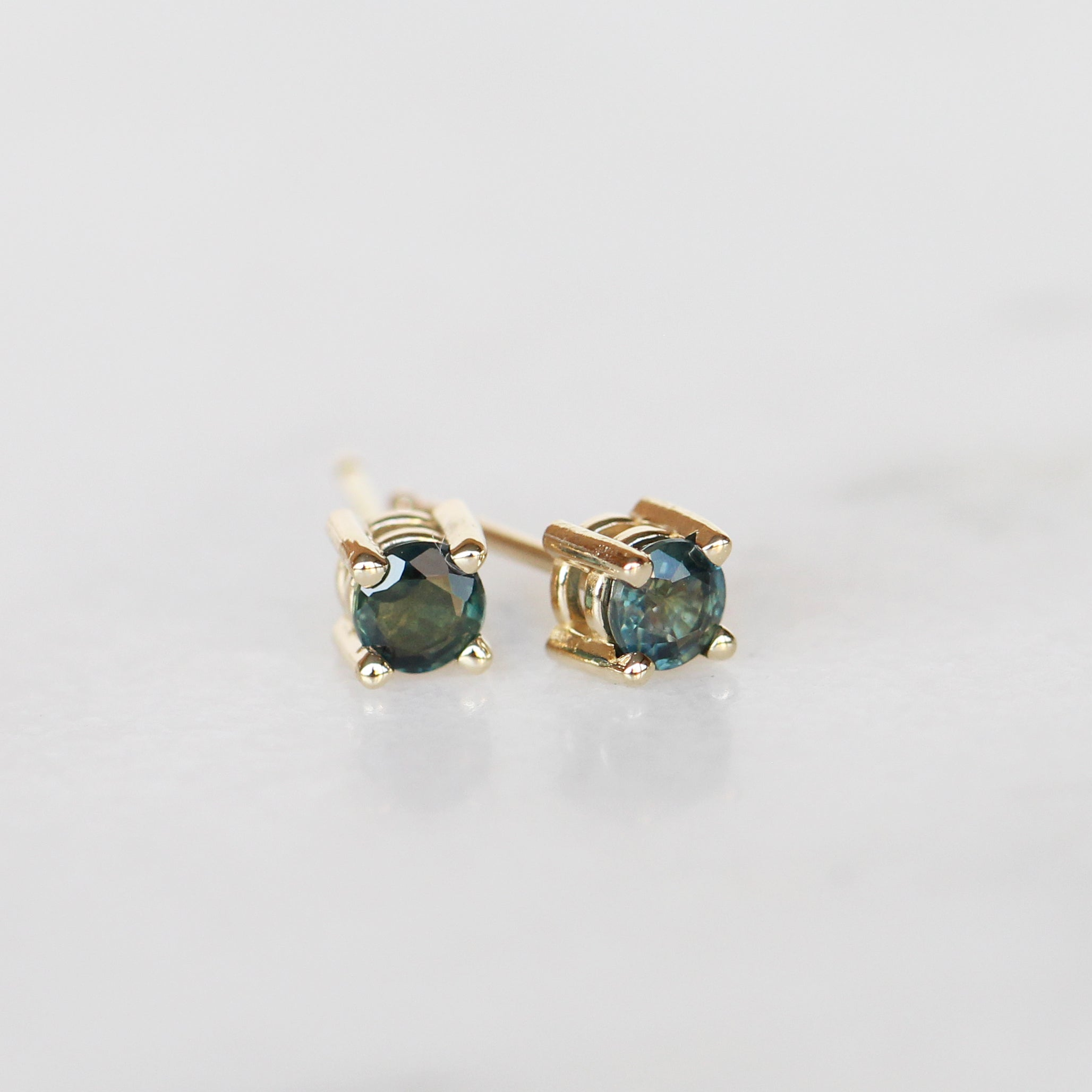 14k Gold Earring Studs with Teal Blue Green Sapphires - Made to Order - Celestial Diamonds ® by Midwinter Co.