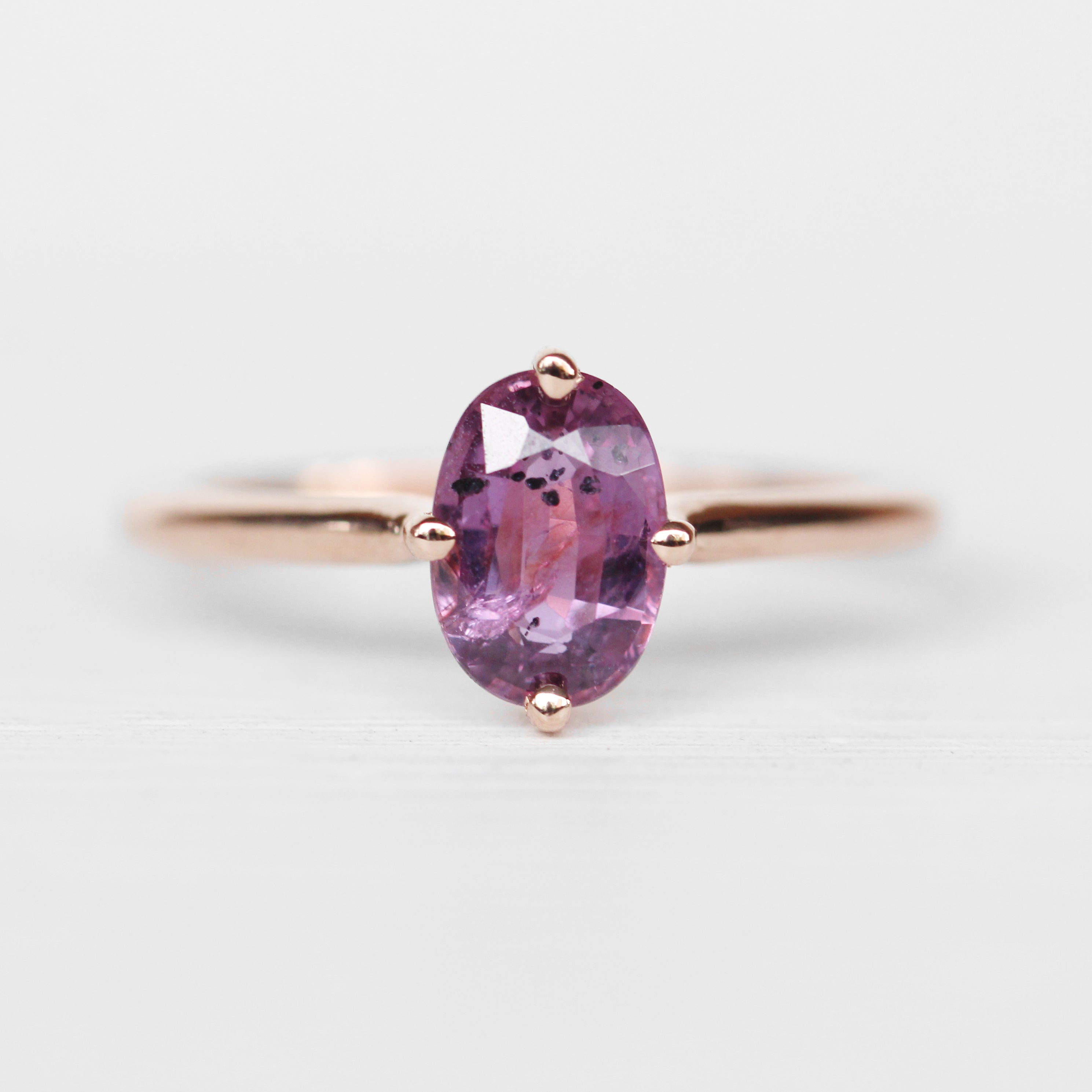 West Ring with a Magenta Sapphire in 10k Rose Gold - Ready to Size and Ship