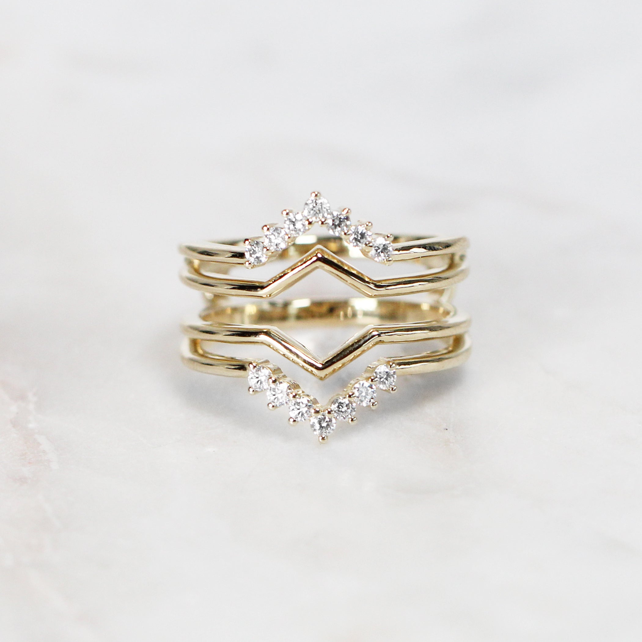 Savannah Diamond Ring Guard - Salt & Pepper Celestial Diamond Engagement Rings and Wedding Bands  by Midwinter Co.