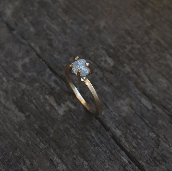 Rough Diamond Solitaire Ring - Gold / Sterling - Ethically Sourced