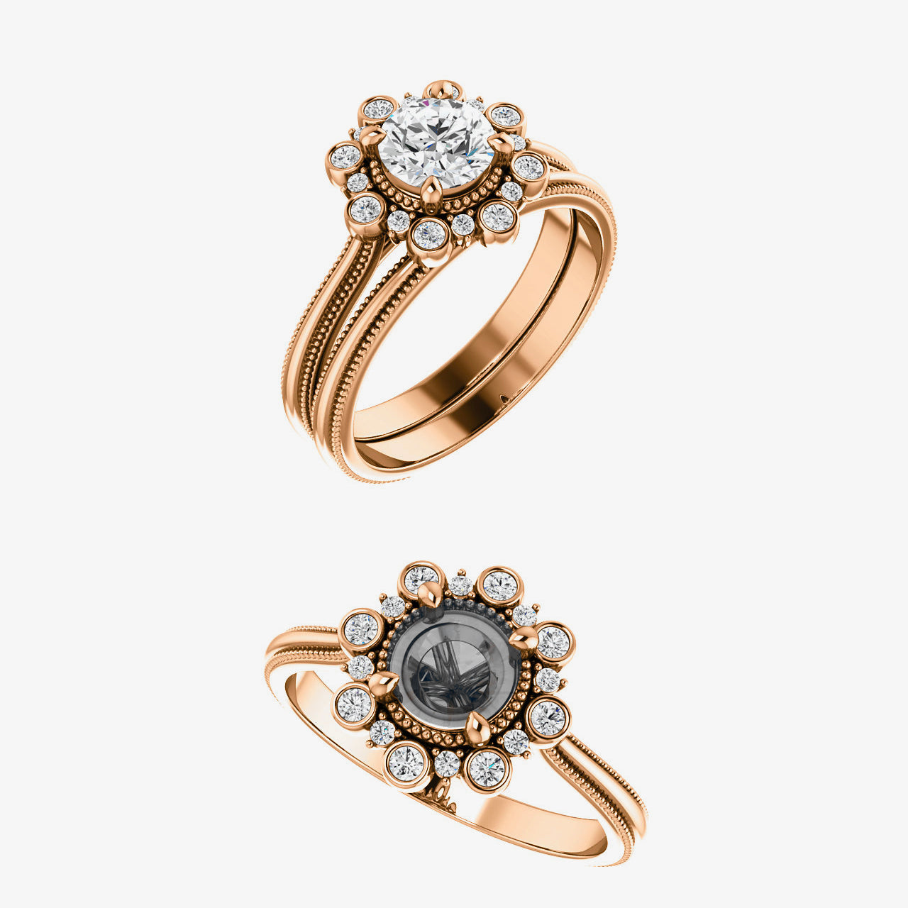 Presley Setting - Salt & Pepper Celestial Diamond Engagement Rings and Wedding Bands  by Midwinter Co.