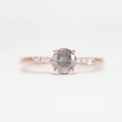Harlow Ring with a Misty Gray Diamond in 14k rose gold - ready to size and ship