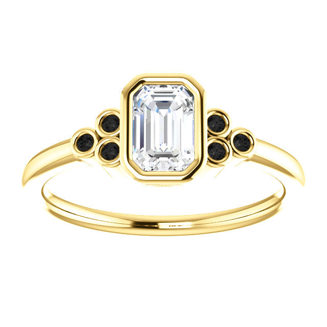 Sophia - Sapphire and Diamond bezel set ring in your choice of gold