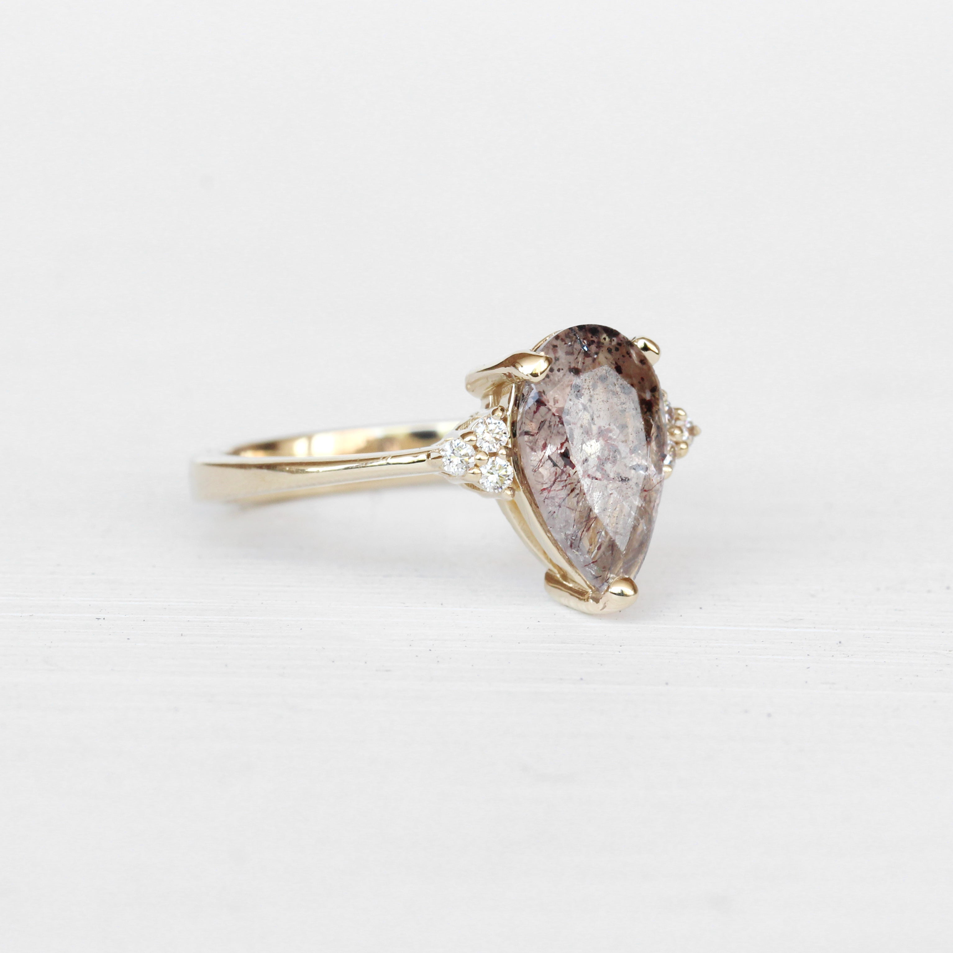 Imogene Ring with Quartz and Diamonds in 14k Yellow Gold - Ready to Size and Ship - Celestial Diamonds ® by Midwinter Co.