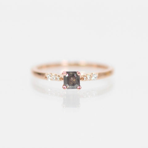 Sloan Ring with Charcoal Gray Pear Diamond in 14k Rose Gold - Ready to Size and Ship