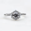 Stella Ring with a 0.51 Carat Dark and Clear Celestial Diamond and White Halo in 14k White Gold - Ready to Size and Ship - Midwinter Co. Alternative Bridal Rings and Modern Fine Jewelry