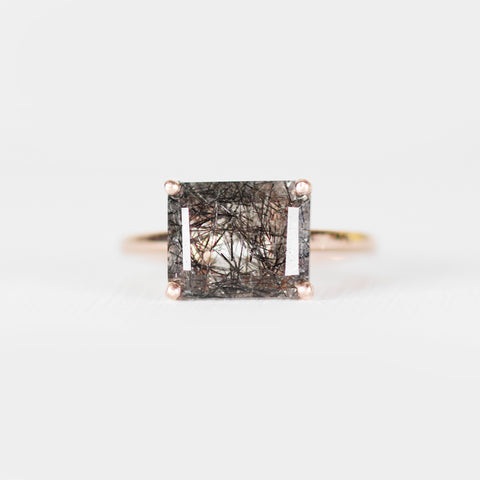 Ruthie with Tourmalated Rutilated Quartz Ring in 14k Rose Gold - Ready to size and ship